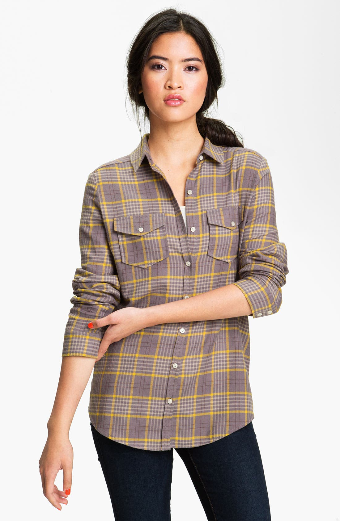 RUBBISH<SUP>®</SUP>, Plaid Cotton Shirt, Main thumbnail 1, color, 020