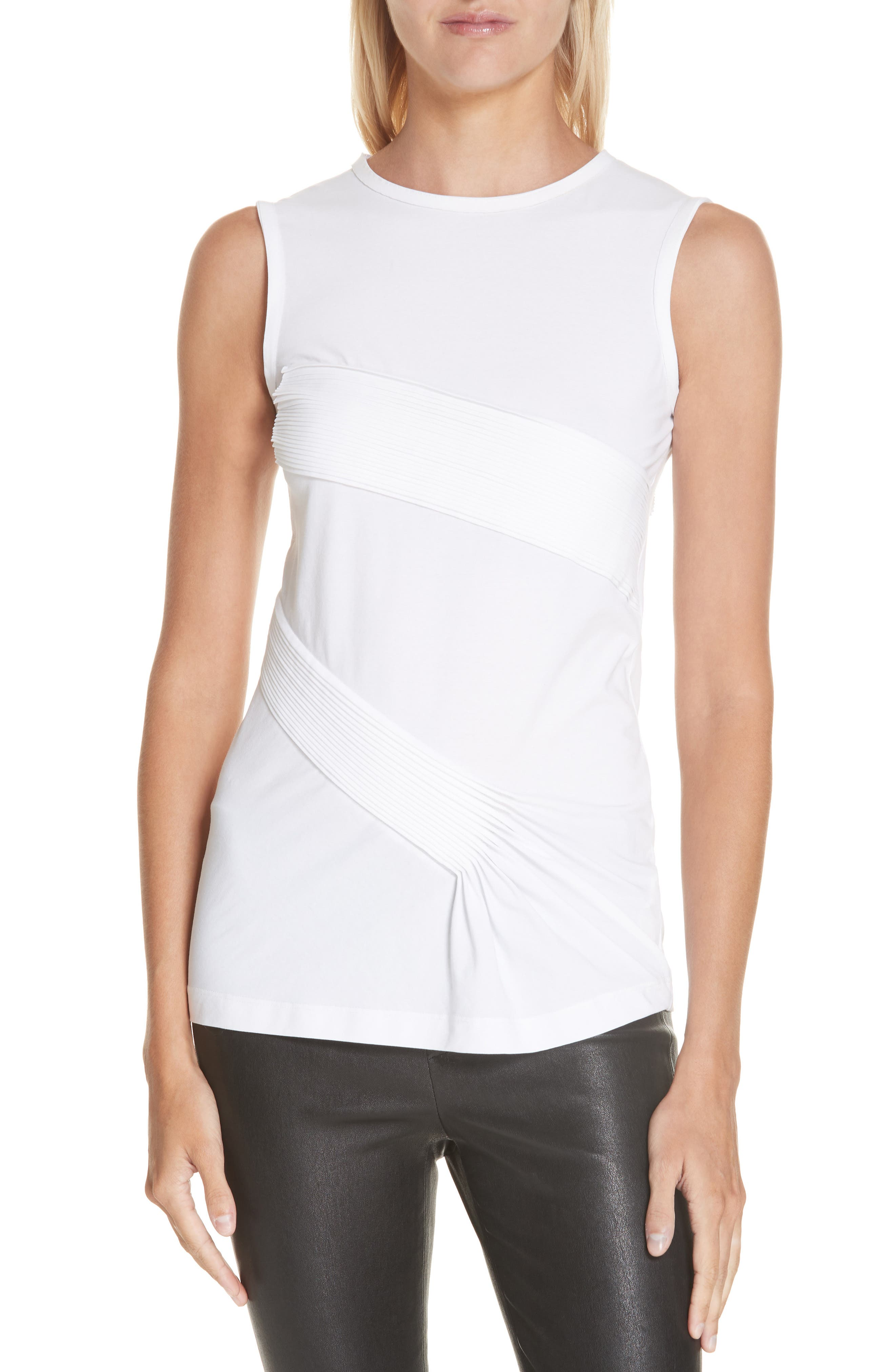 HELMUT LANG Pleated Tank, Main, color, OPTIC WHITE