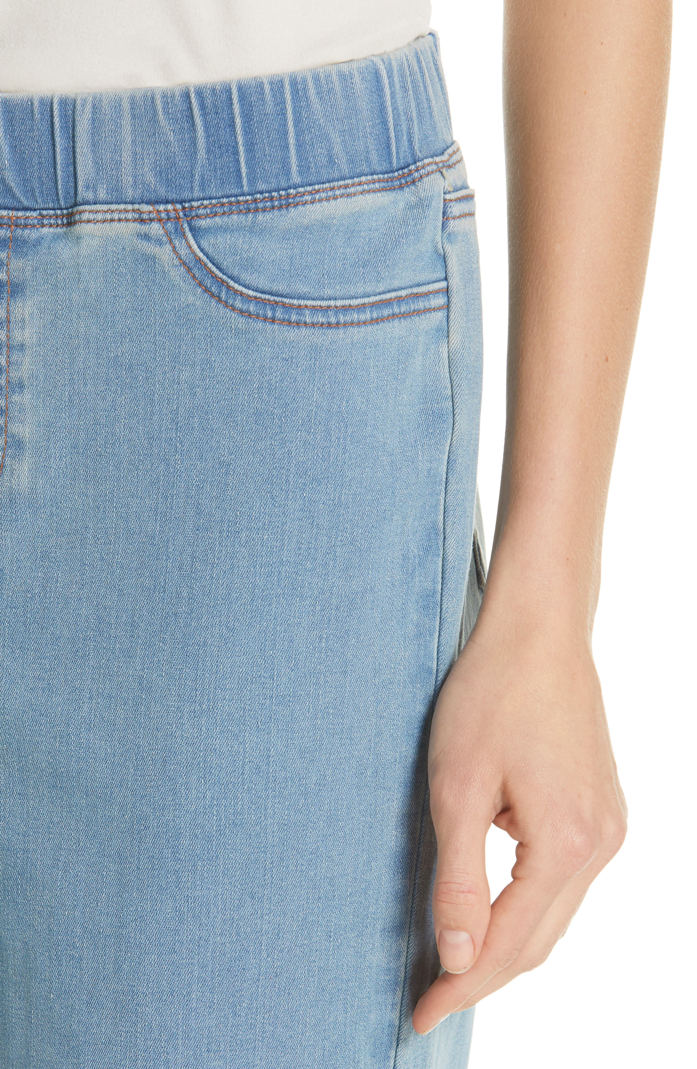 EILEEN FISHER, Frayed Hem Pull-On Ankle Jeans, Alternate thumbnail 5, color, FROST