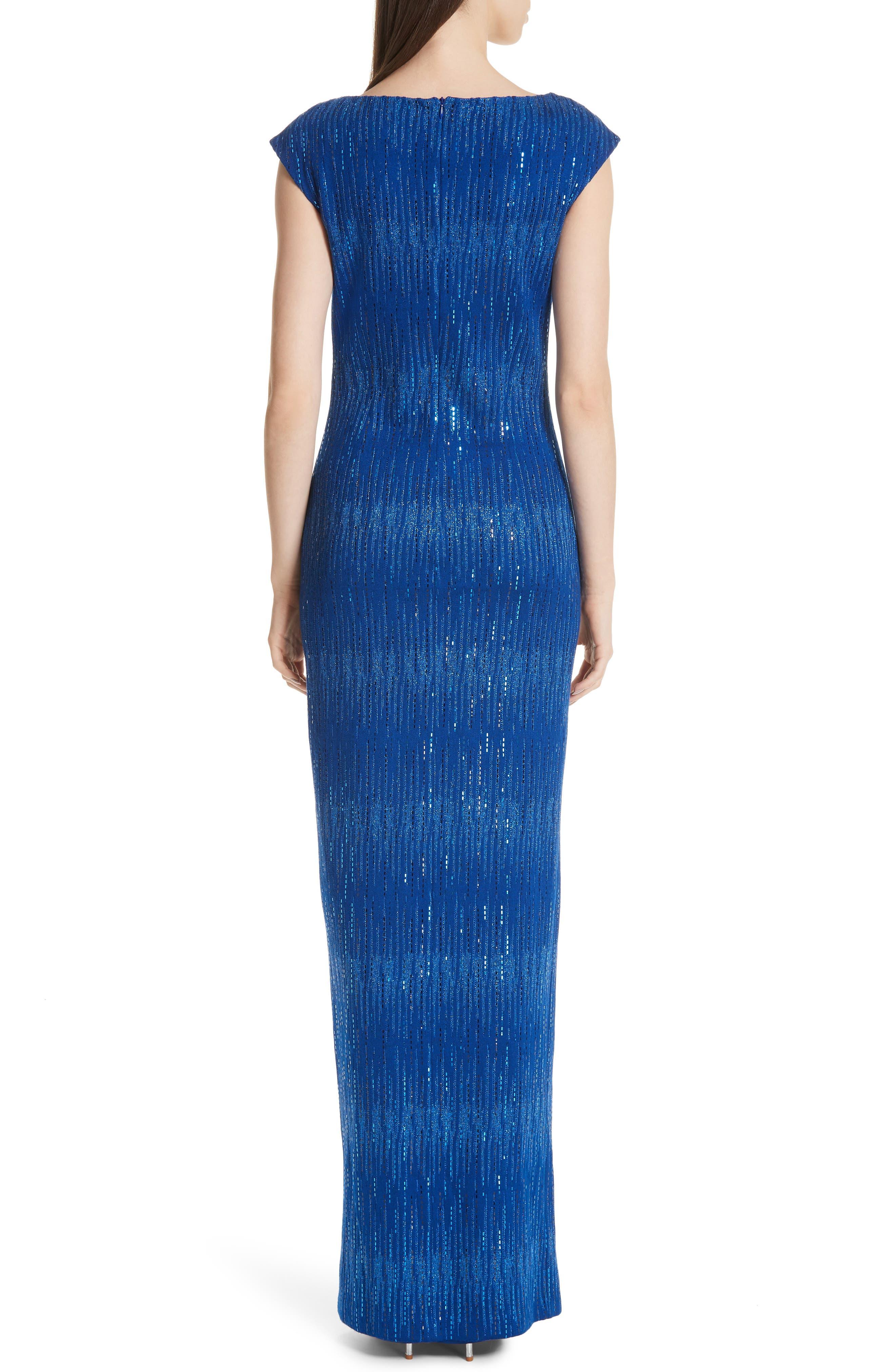 ST. JOHN COLLECTION, Asymmetrical Neck Carrie Knit Evening Dress, Alternate thumbnail 2, color, AZUL