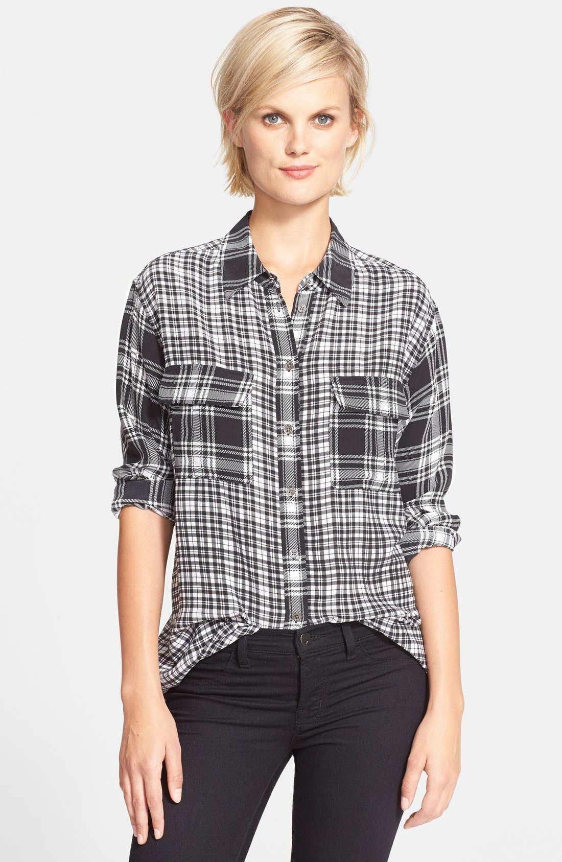 EQUIPMENT 'Signature' Plaid Print Silk Shirt, Main, color, 002
