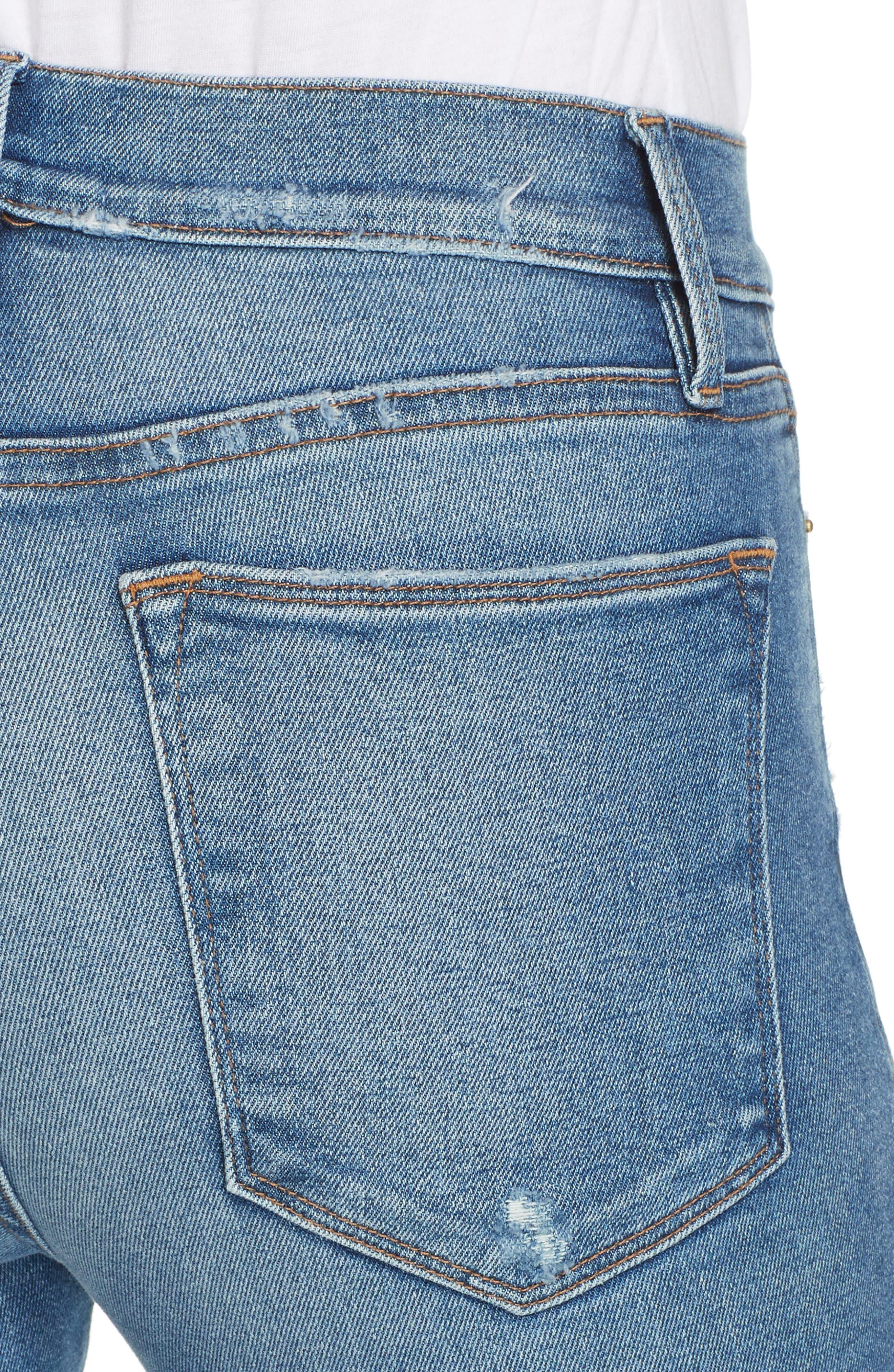 FRAME, Le Skinny de Jeanne High Waist Raw Hem Jeans, Alternate thumbnail 5, color, MCGRATH
