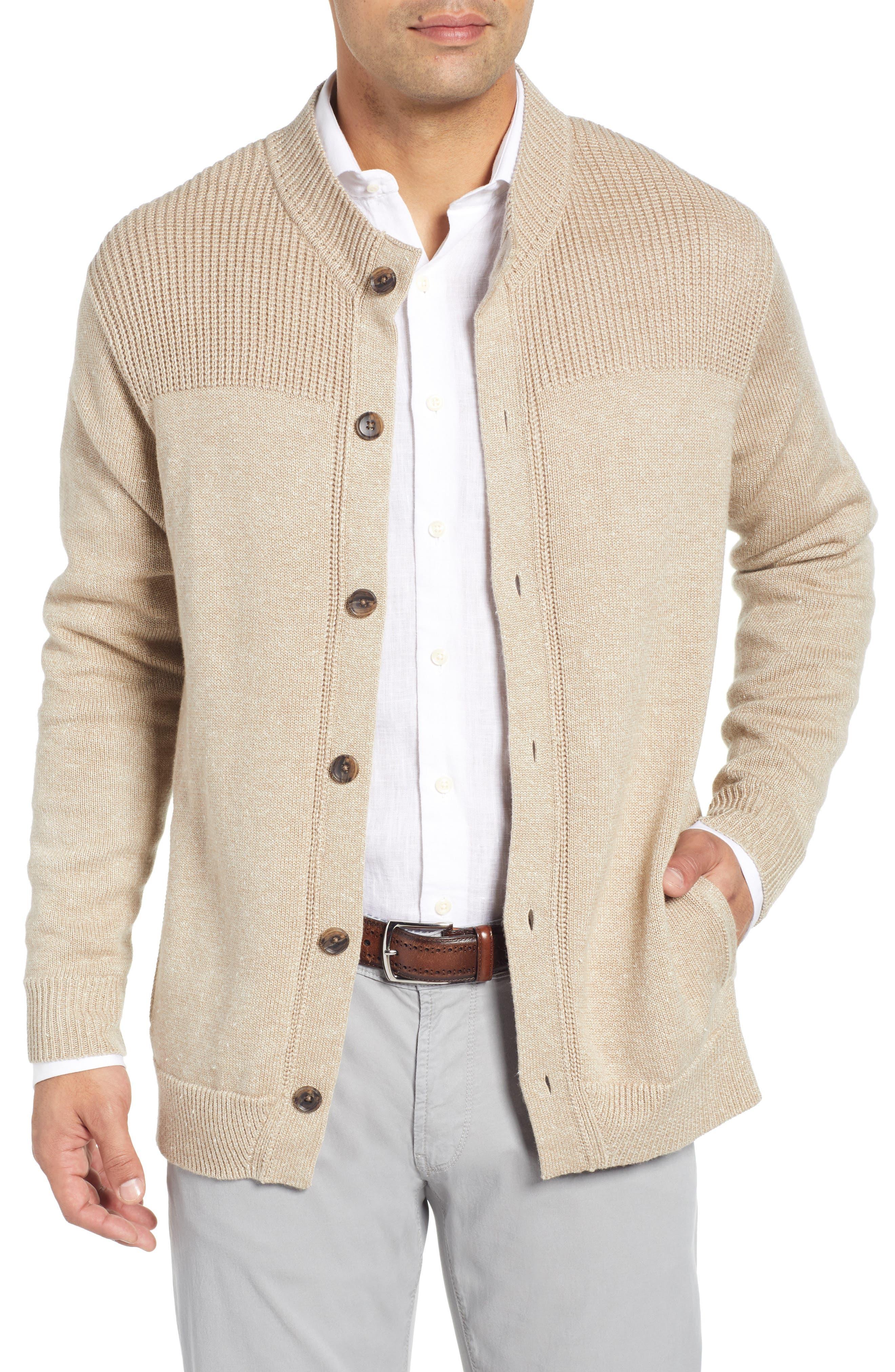 PETER MILLAR Beech Wood Classic Fit Cardigan, Main, color, BEECH WOOD
