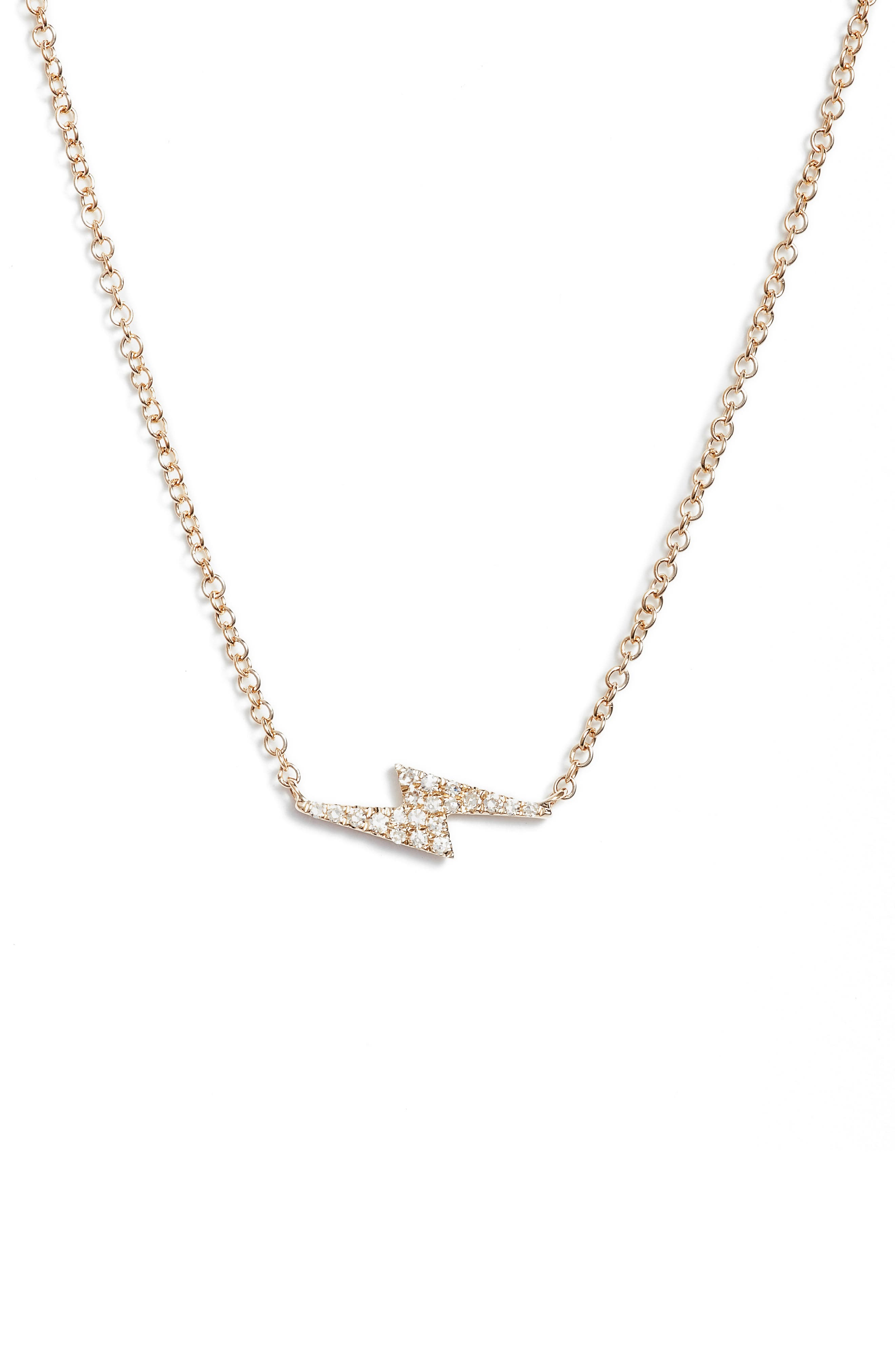 EF COLLECTION, Diamond Lightning Bolt Pendant Necklace, Main thumbnail 1, color, YELLOW GOLD
