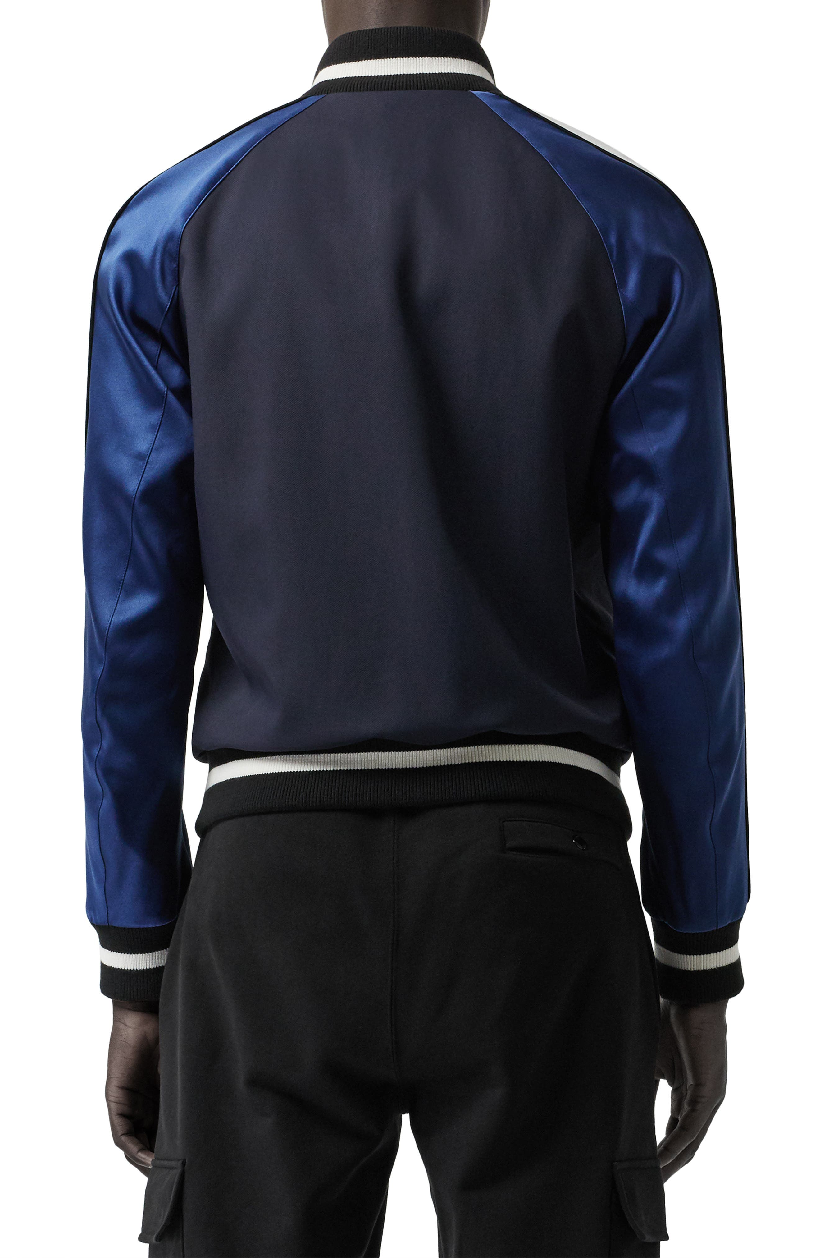 BURBERRY, Thornberry Zip Track Jacket, Alternate thumbnail 2, color, NAVY