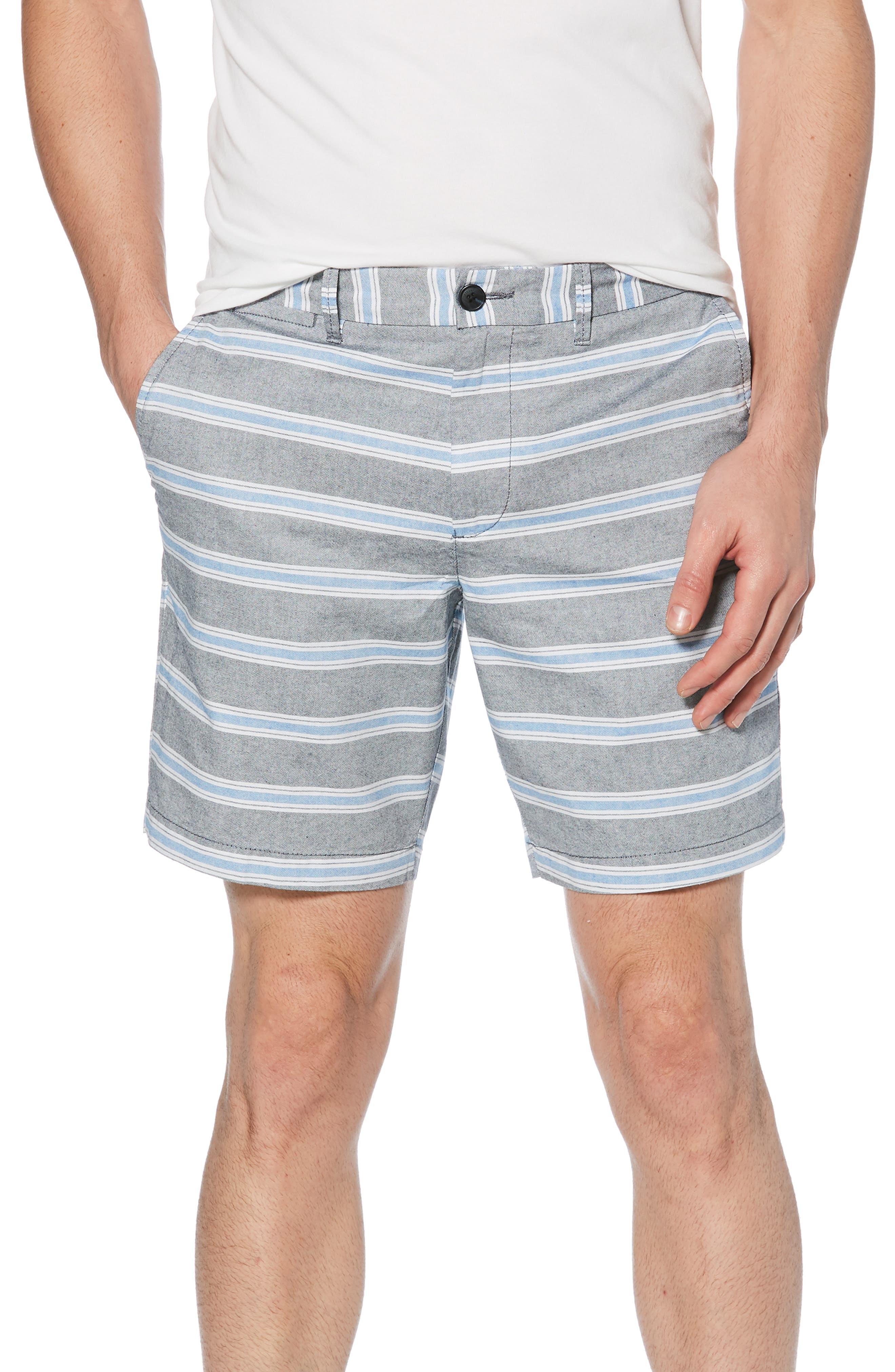 ORIGINAL PENGUIN End on End Stripe Shorts, Main, color, DARK SAPPHIRE
