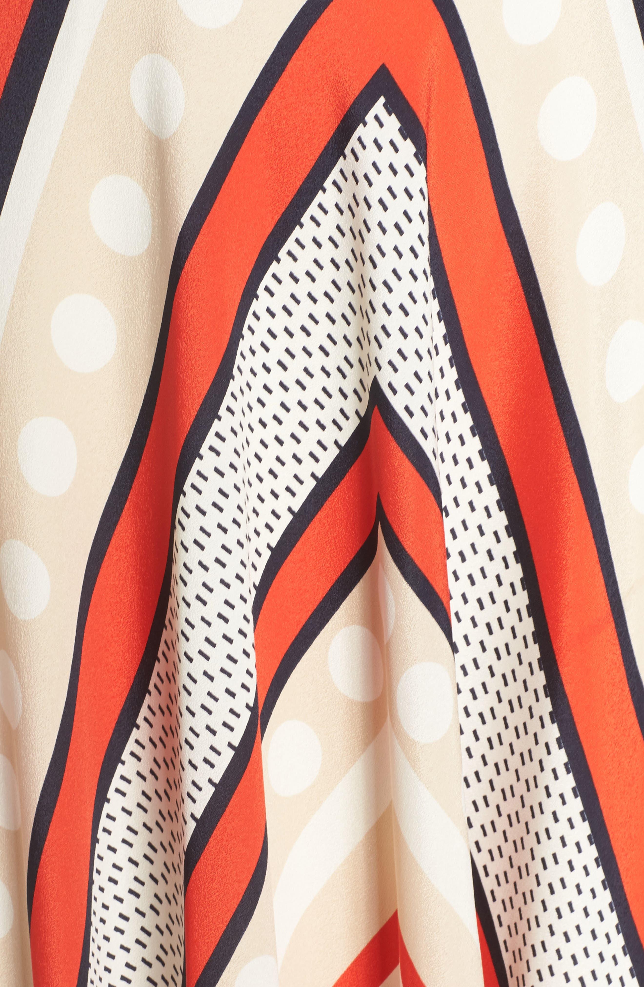 ELIZA J, Scarf Print Crêpe de Chine Fit & Flare Maxi Dress, Alternate thumbnail 7, color, MULTI