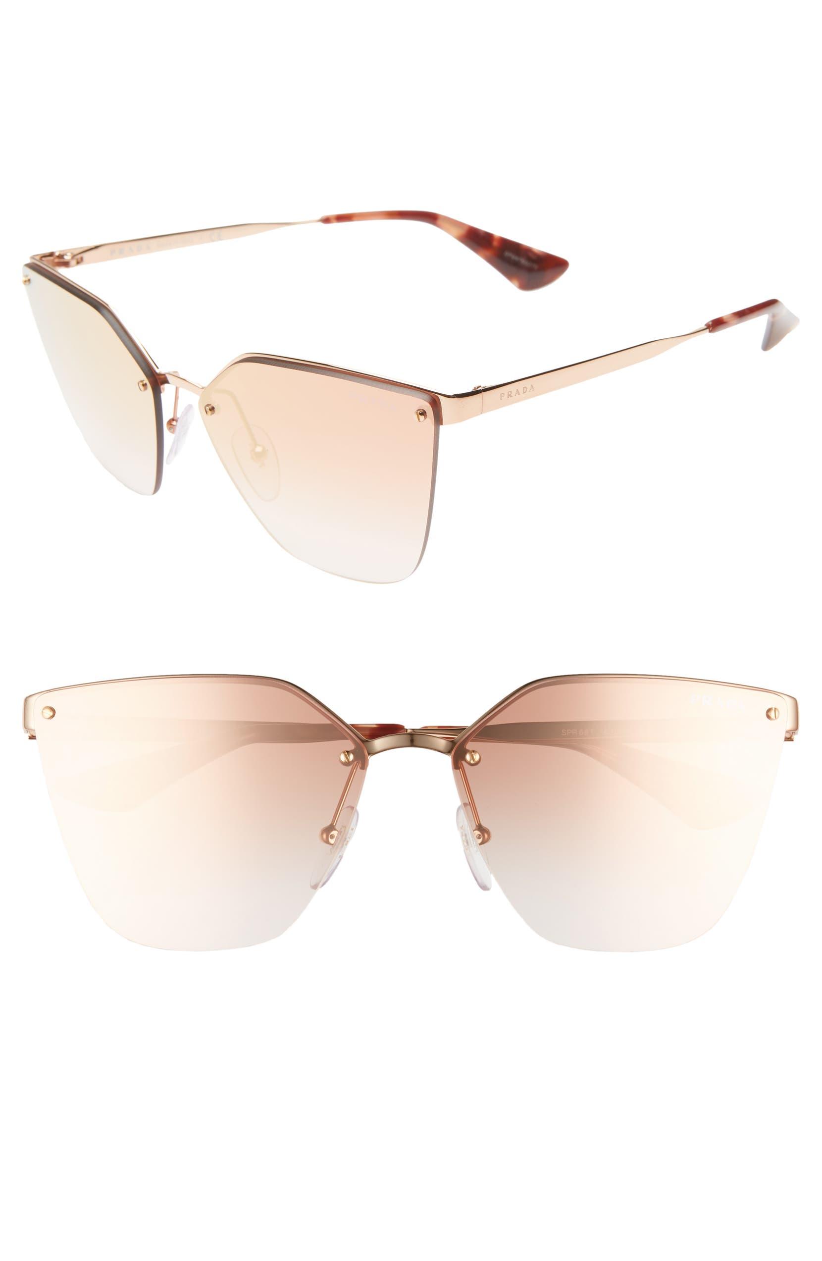 ed49113b9f88 Prada 63mm Mirrored Gradient Oversize Sunglasses