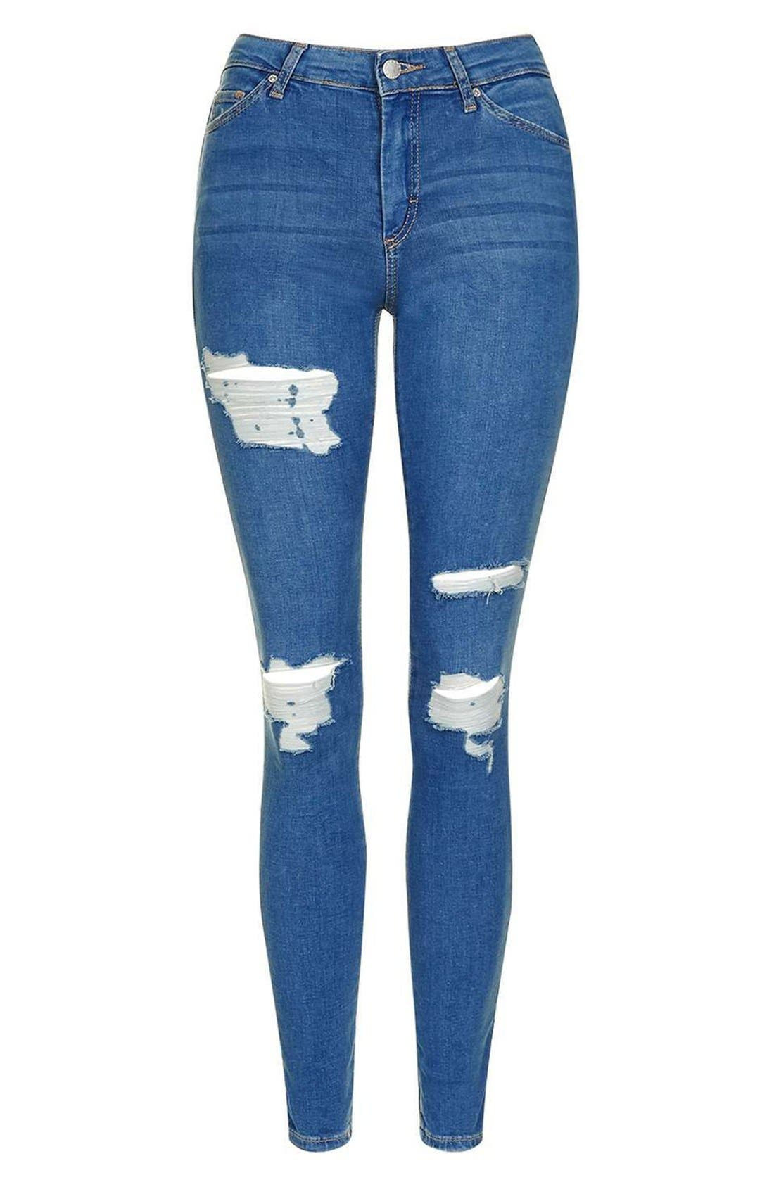 TOPSHOP, Moto Leigh Super Ripped Ankle Skinny Jeans, Alternate thumbnail 4, color, 400