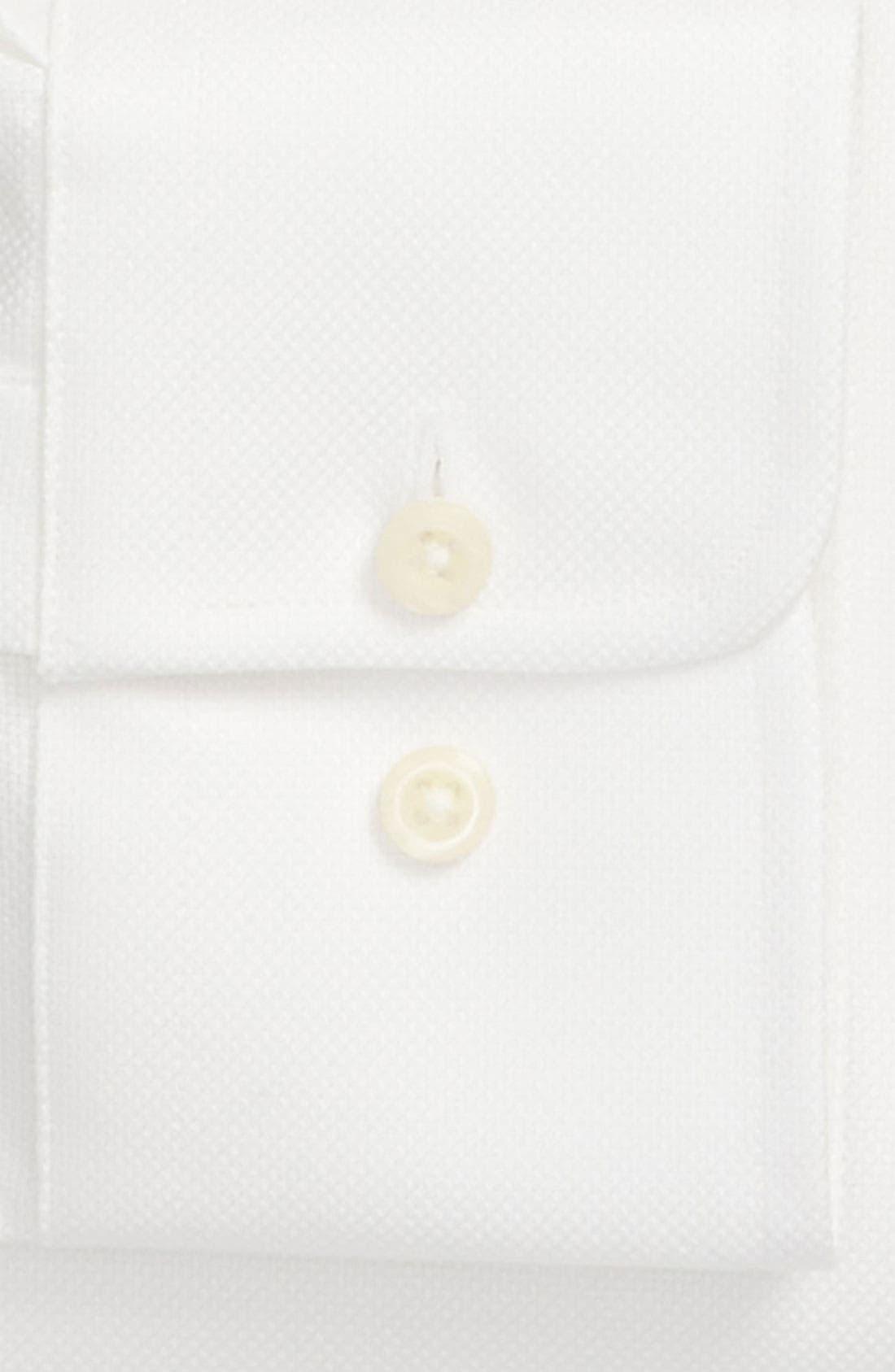 DAVID DONAHUE, Trim Fit Dress Shirt, Alternate thumbnail 7, color, WHITE