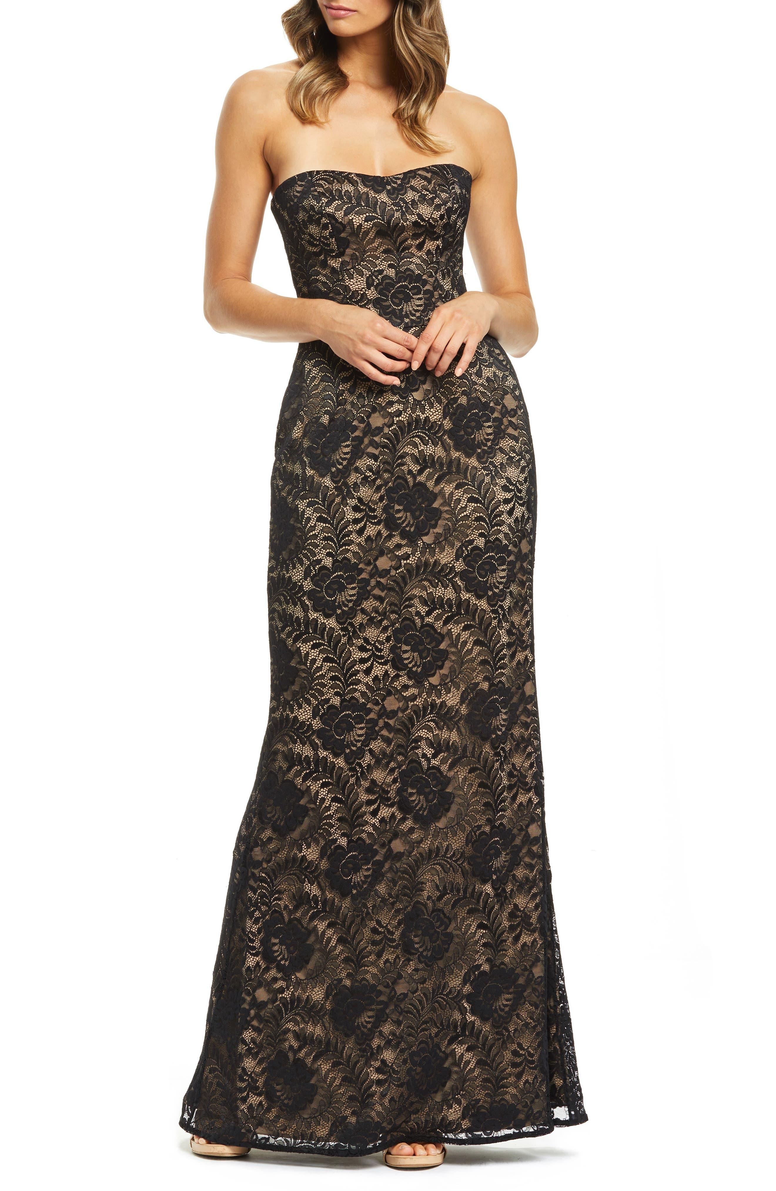 Dress The Population Gretta Strapless Stretch Lace Evening Dress