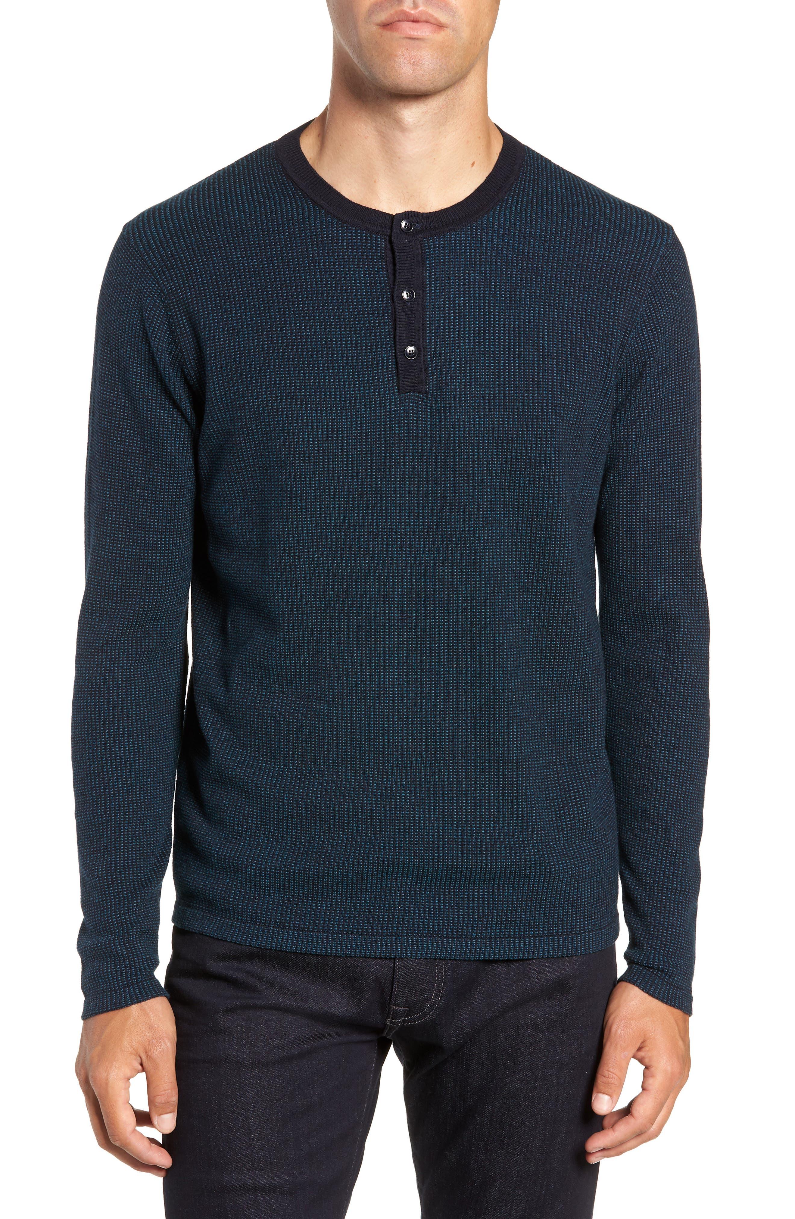 ZACHARY PRELL, Kimball Henley Sweater, Main thumbnail 1, color, EMERALD