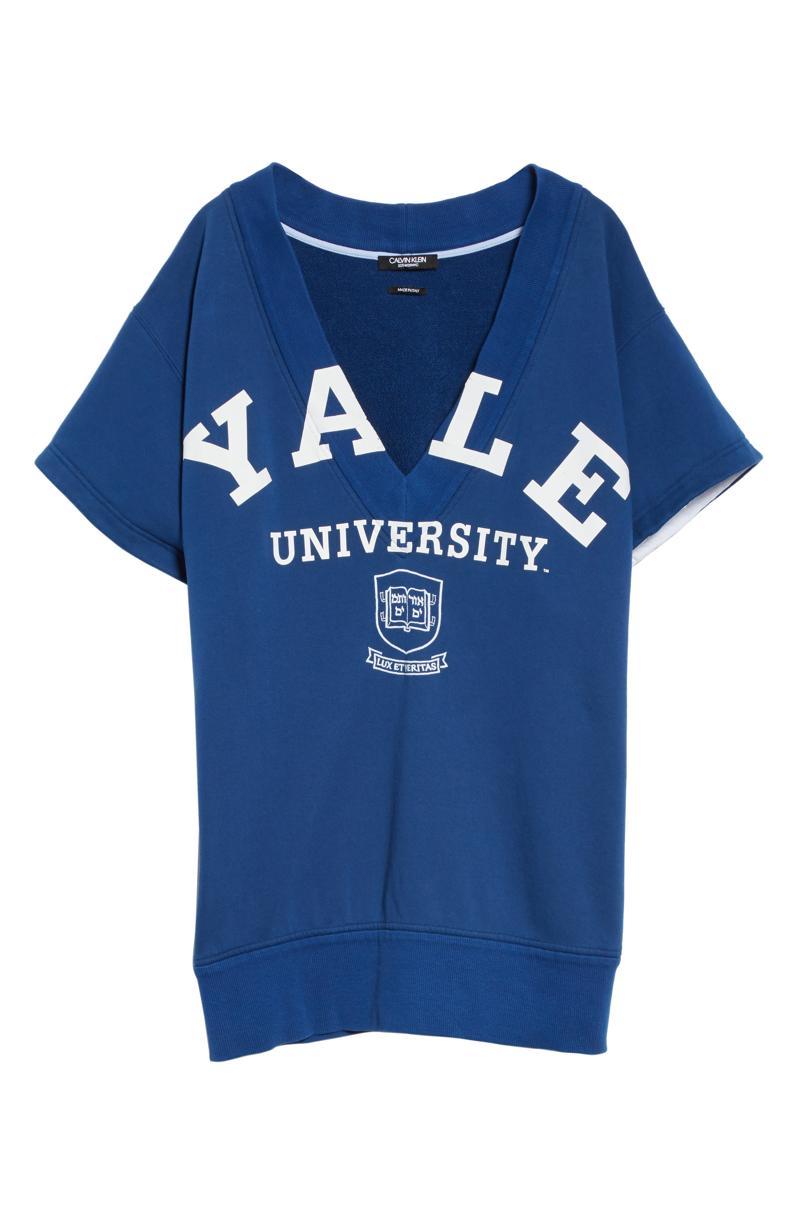 CALVIN KLEIN 205W39NYC, Yale Short Sleeve Sweatshirt, Alternate thumbnail 7, color, YALE BLUE