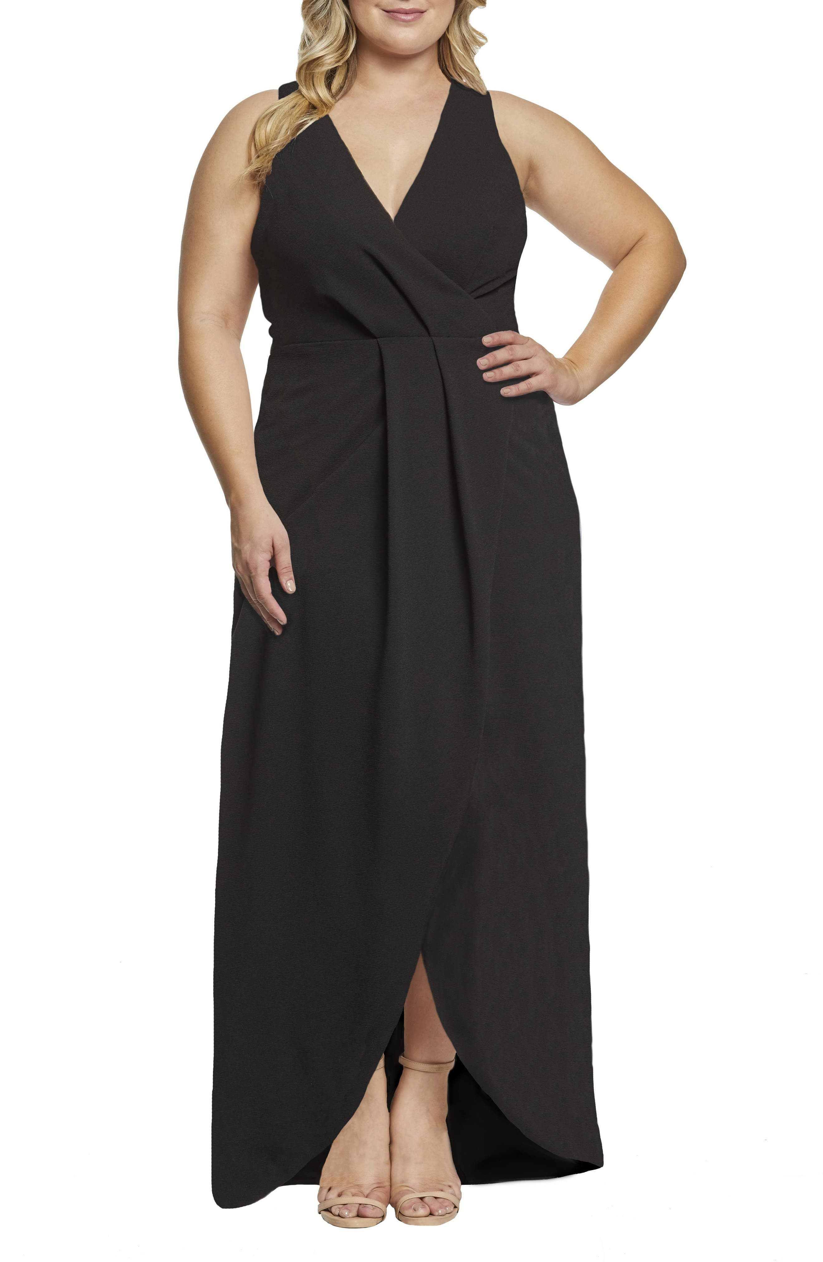Plus Size Dress The Population Ariel Racerback Faux Wrap Evening Dress, Black