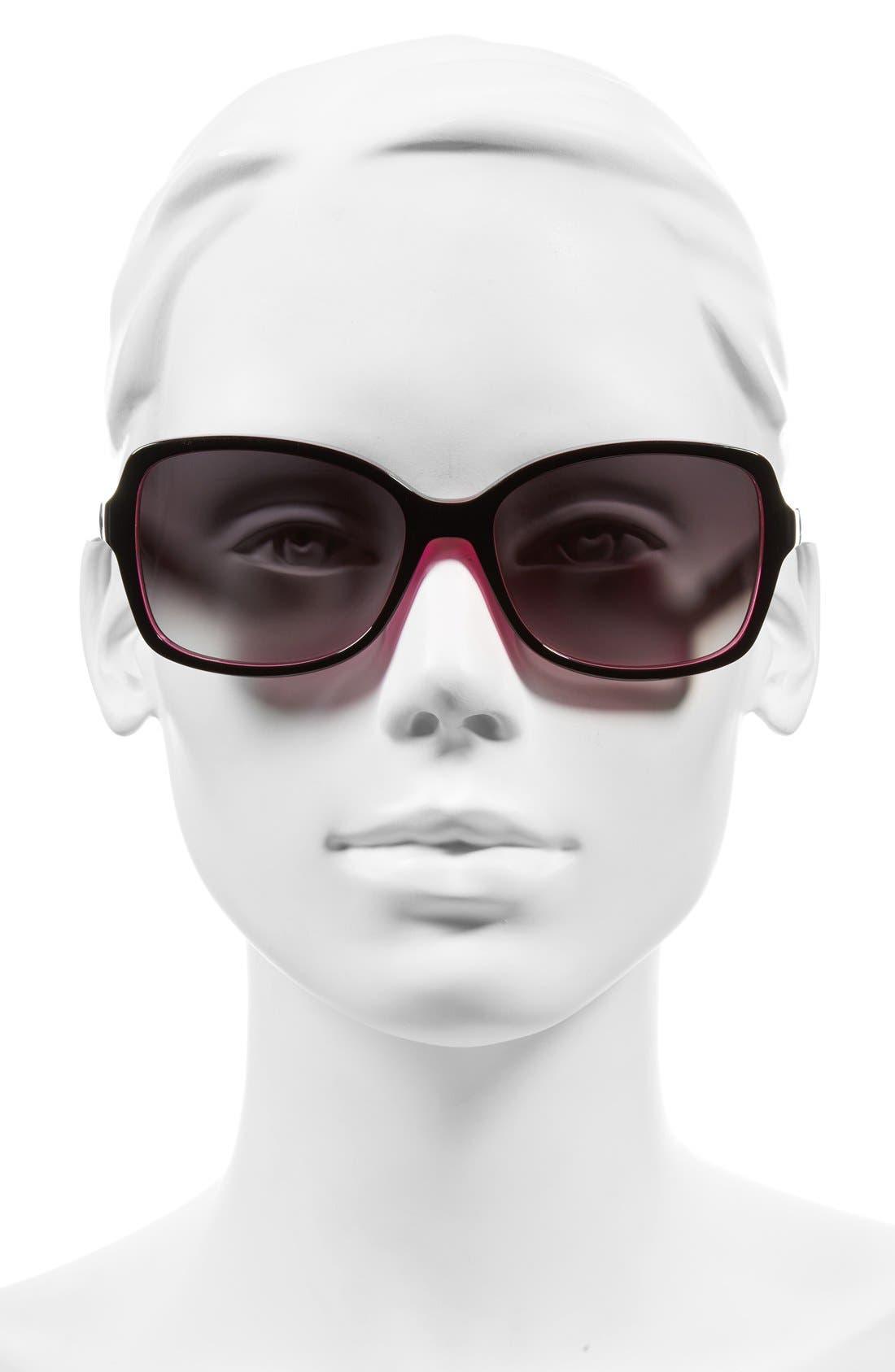 KATE SPADE NEW YORK, 'ayleens' 56mm sunglasses, Alternate thumbnail 2, color, BLACK/ PINK