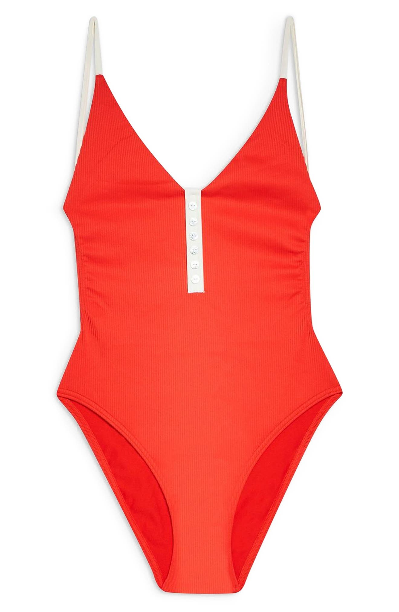 TOPSHOP, Pamela Button Ribbed One-Piece Swimsuit, Alternate thumbnail 4, color, RED