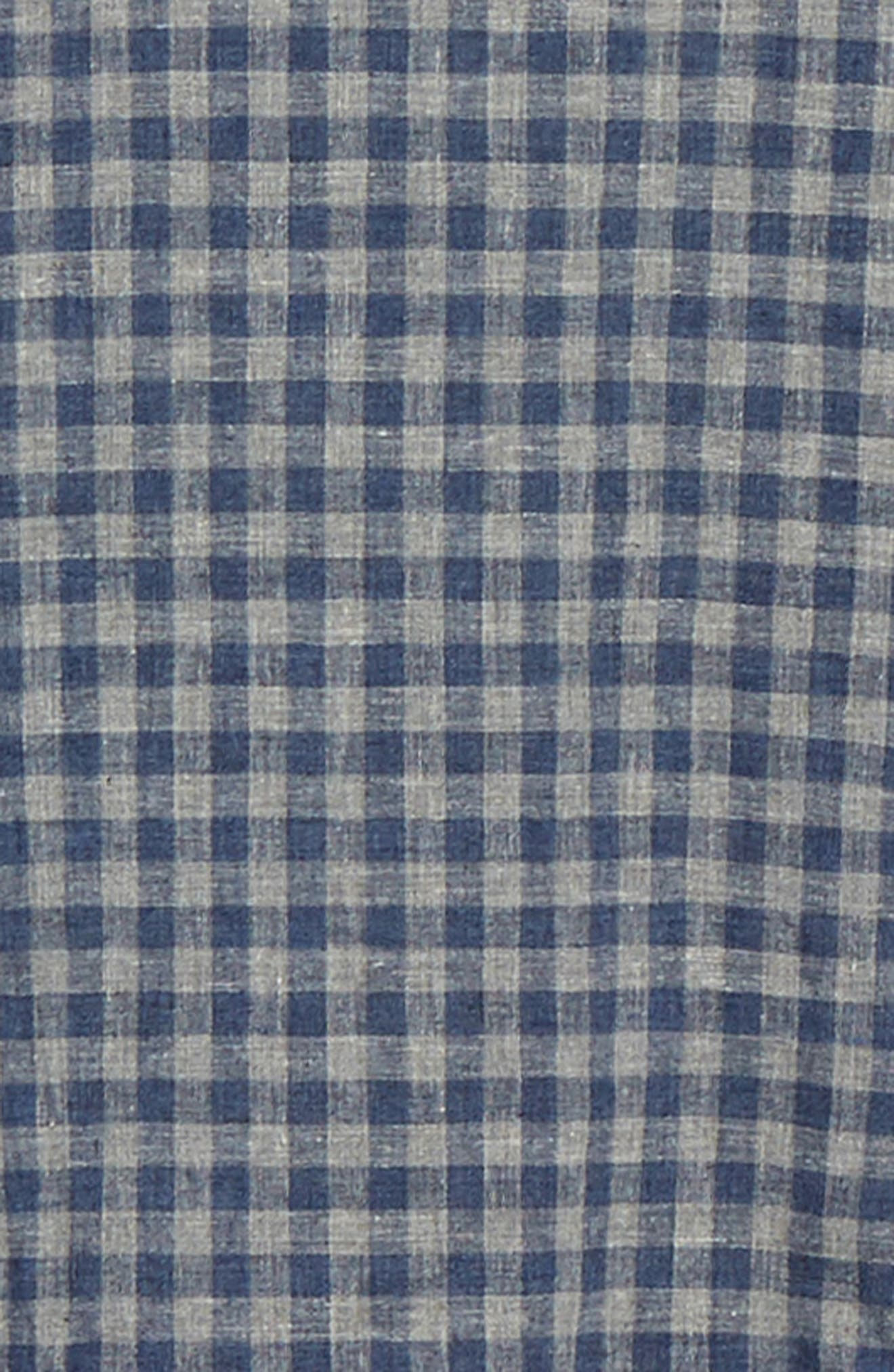 1901, Heather Gingham Linen Blend Slim Fit Sport Shirt, Alternate thumbnail 6, color, GREY OIL NAVY GINGHAM