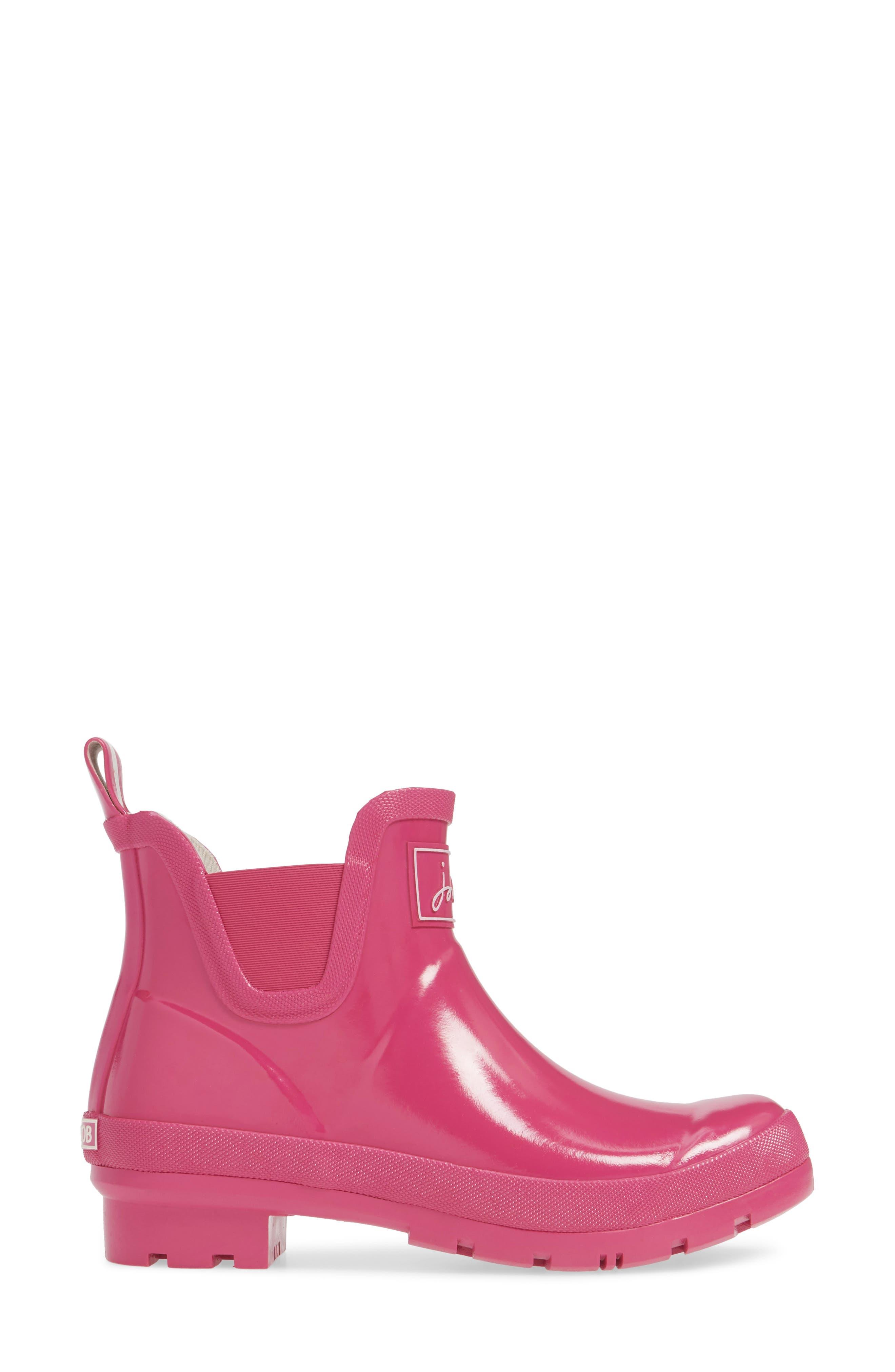 JOULES, Wellibob Short Rain Boot, Alternate thumbnail 3, color, PINK/ PINK