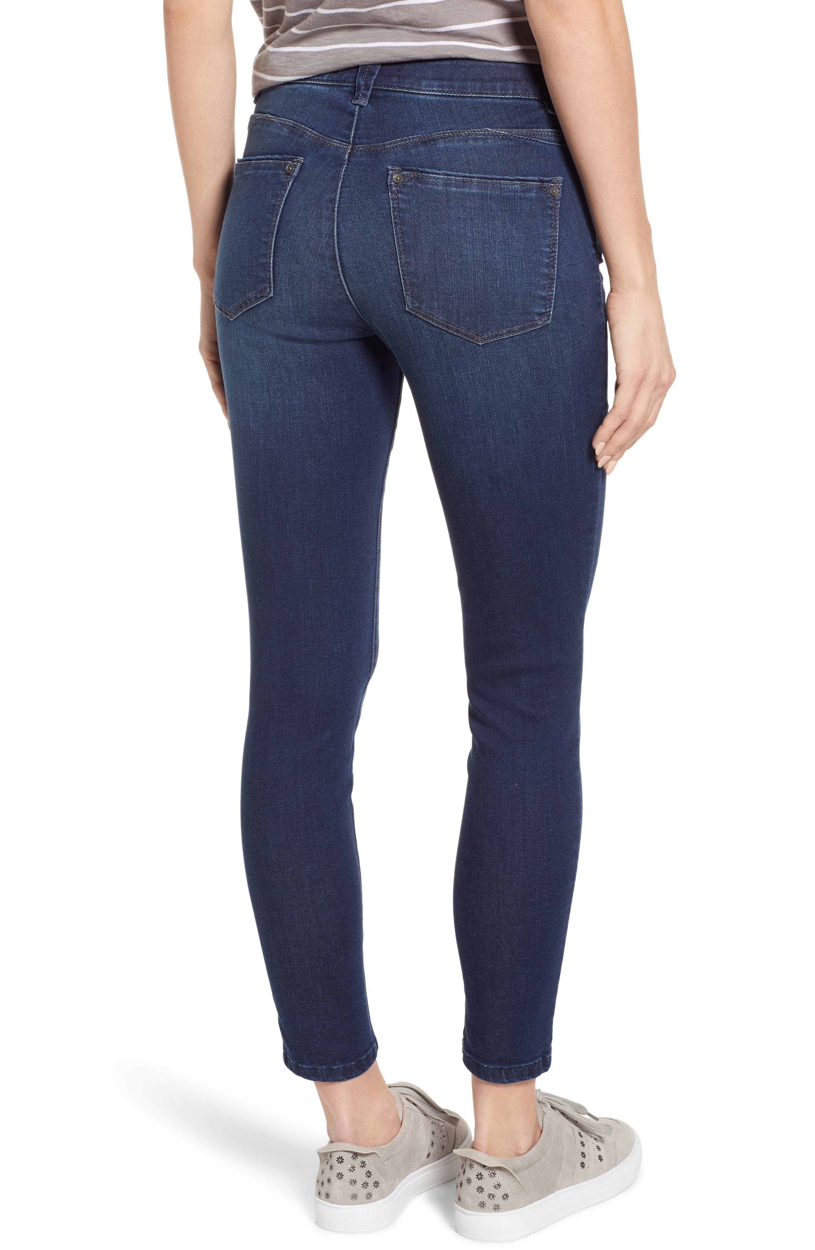WIT & WISDOM, Ab-Solution High Rise Ankle Skinny Jeans, Alternate thumbnail 2, color, INDIGO