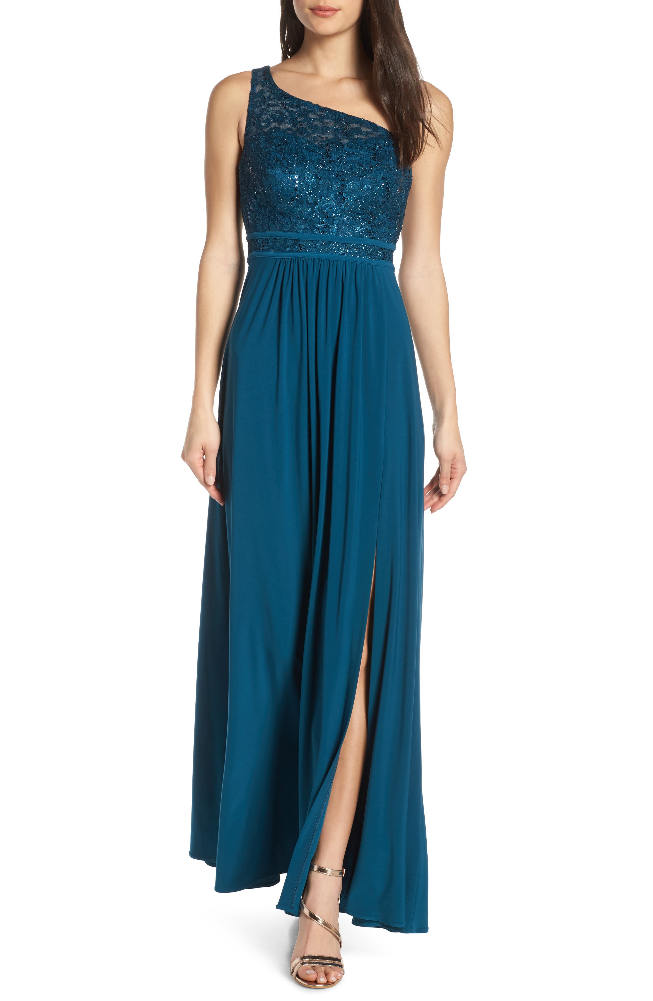 Morgan & Co. One Shoulder Lace Bodice Evening Dress, Blue/green