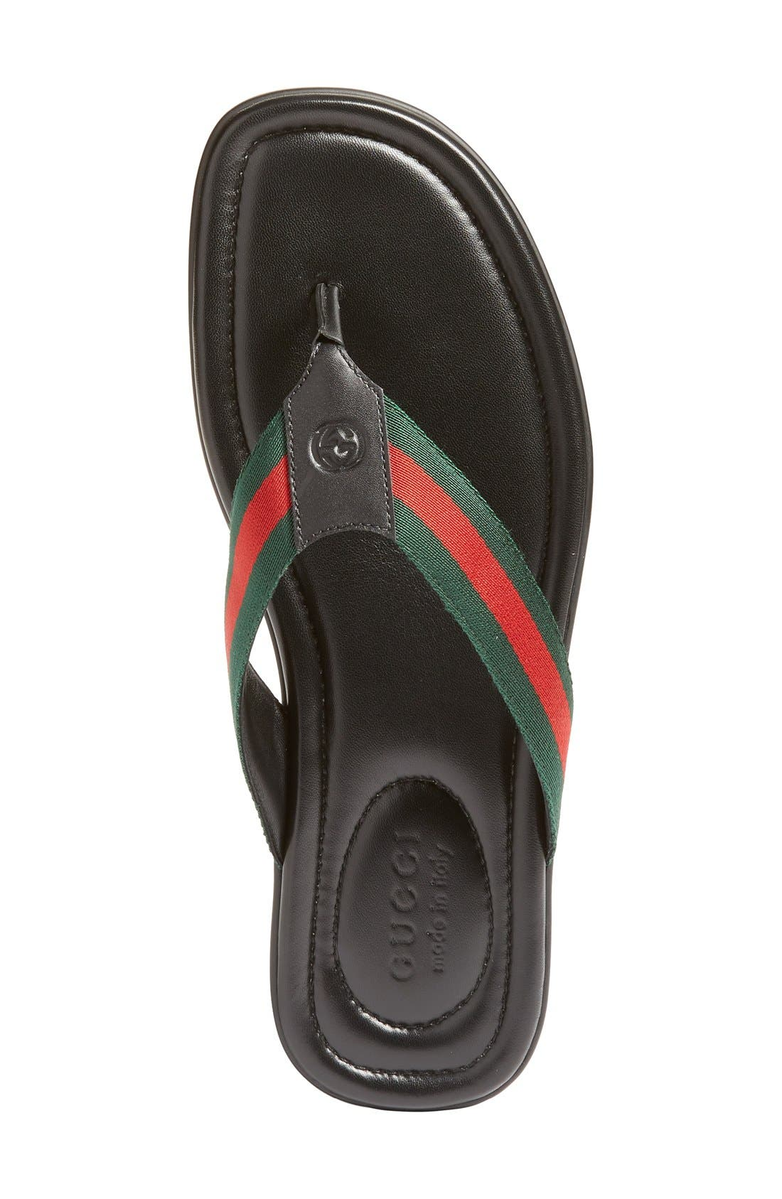 GUCCI, Titan Flip Flop, Alternate thumbnail 5, color, NERO LEATHER
