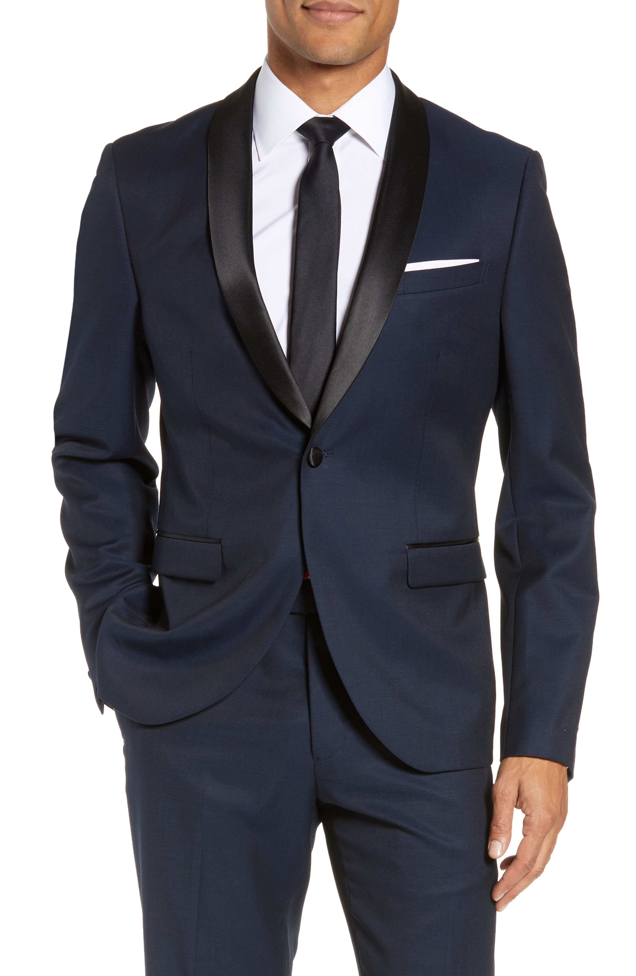 CALIBRATE Extra Trim Fit Shawl Dinner Jacket, Main, color, HIGH BLUE