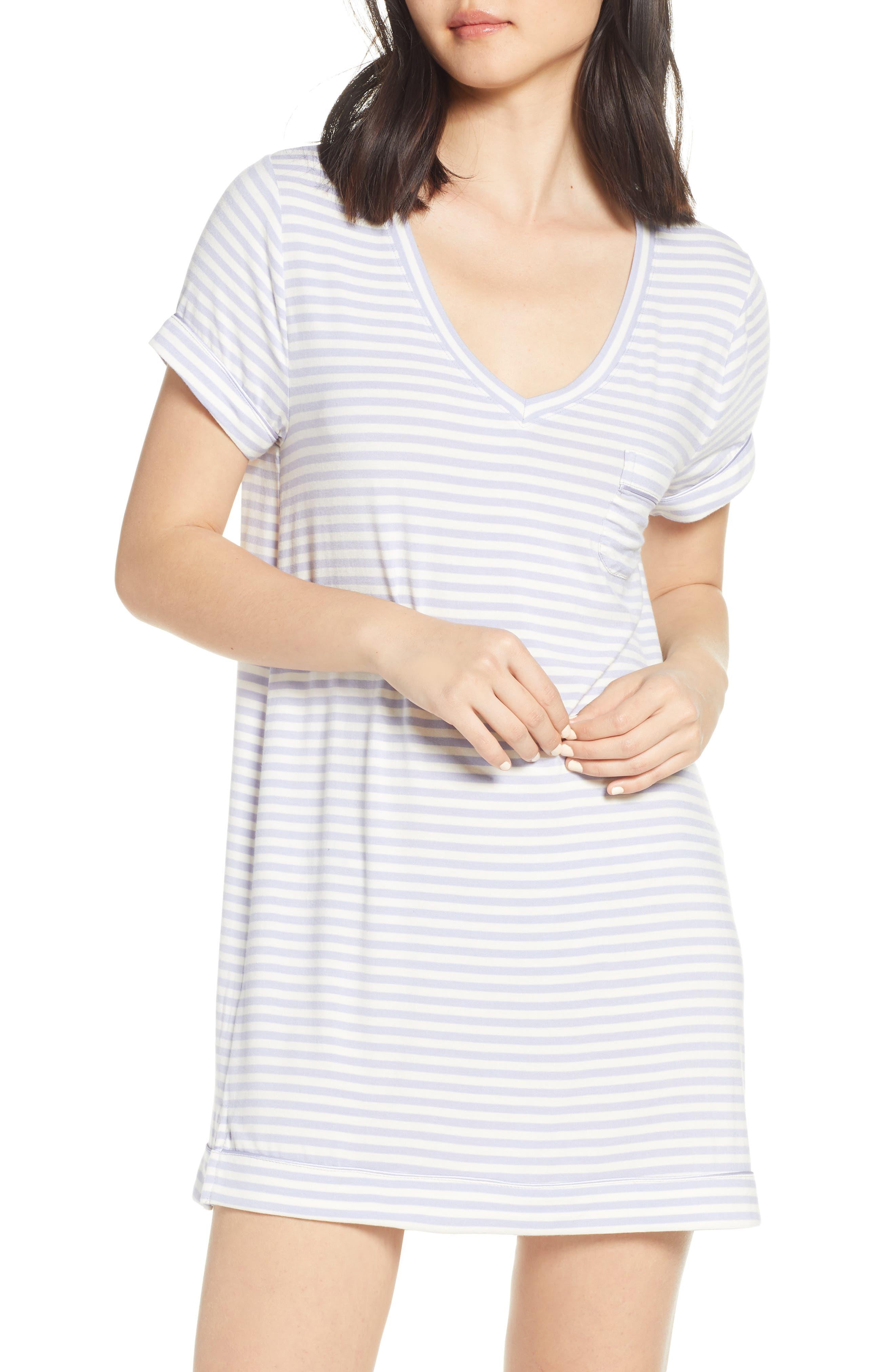 NORDSTROM LINGERIE Moonlight Sleep Shirt, Main, color, PURPLE COSMIC EVEN STRIPE