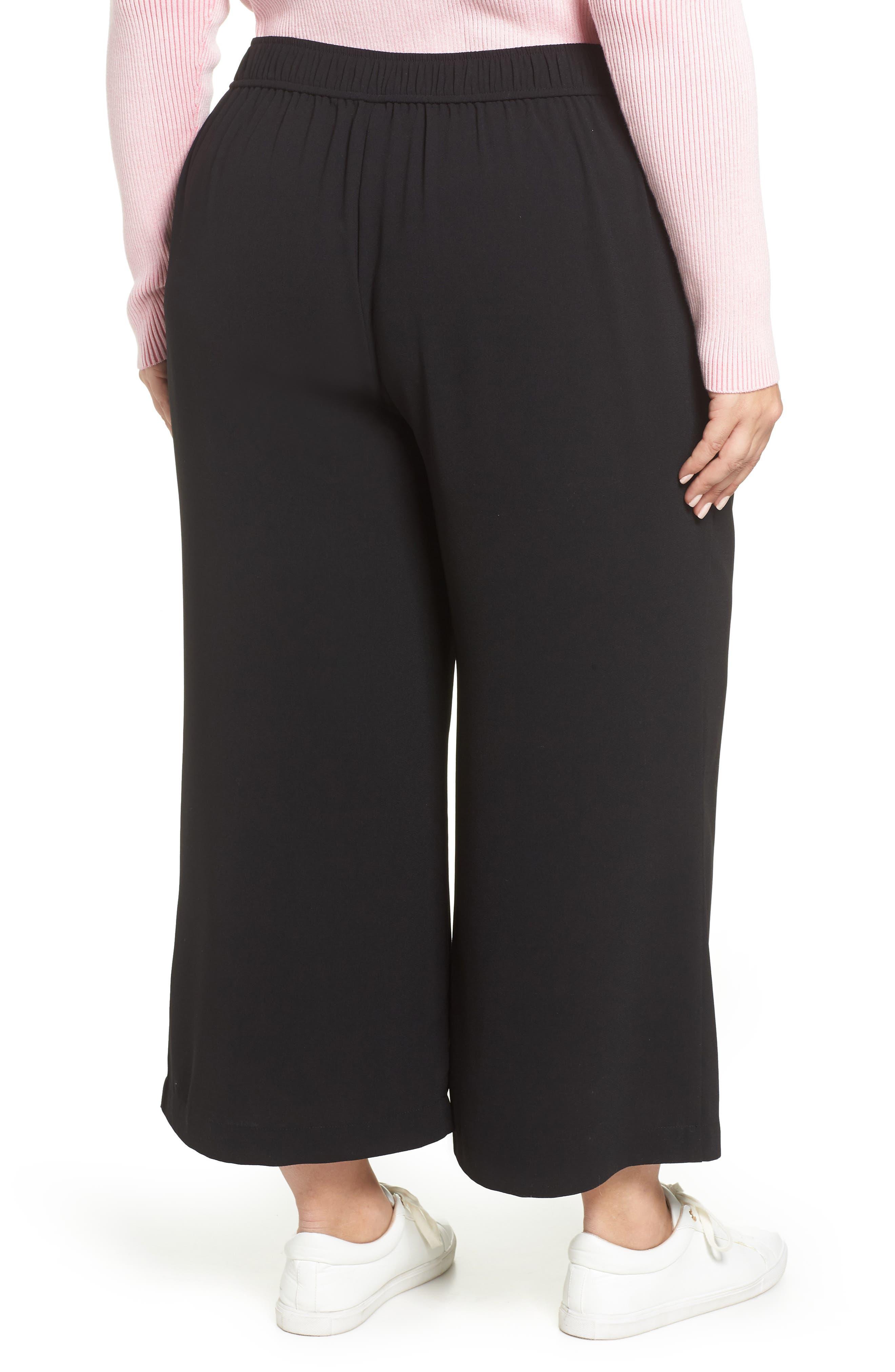 BP., High Waist Soft Wide Leg Crop Pants, Alternate thumbnail 9, color, BLACK