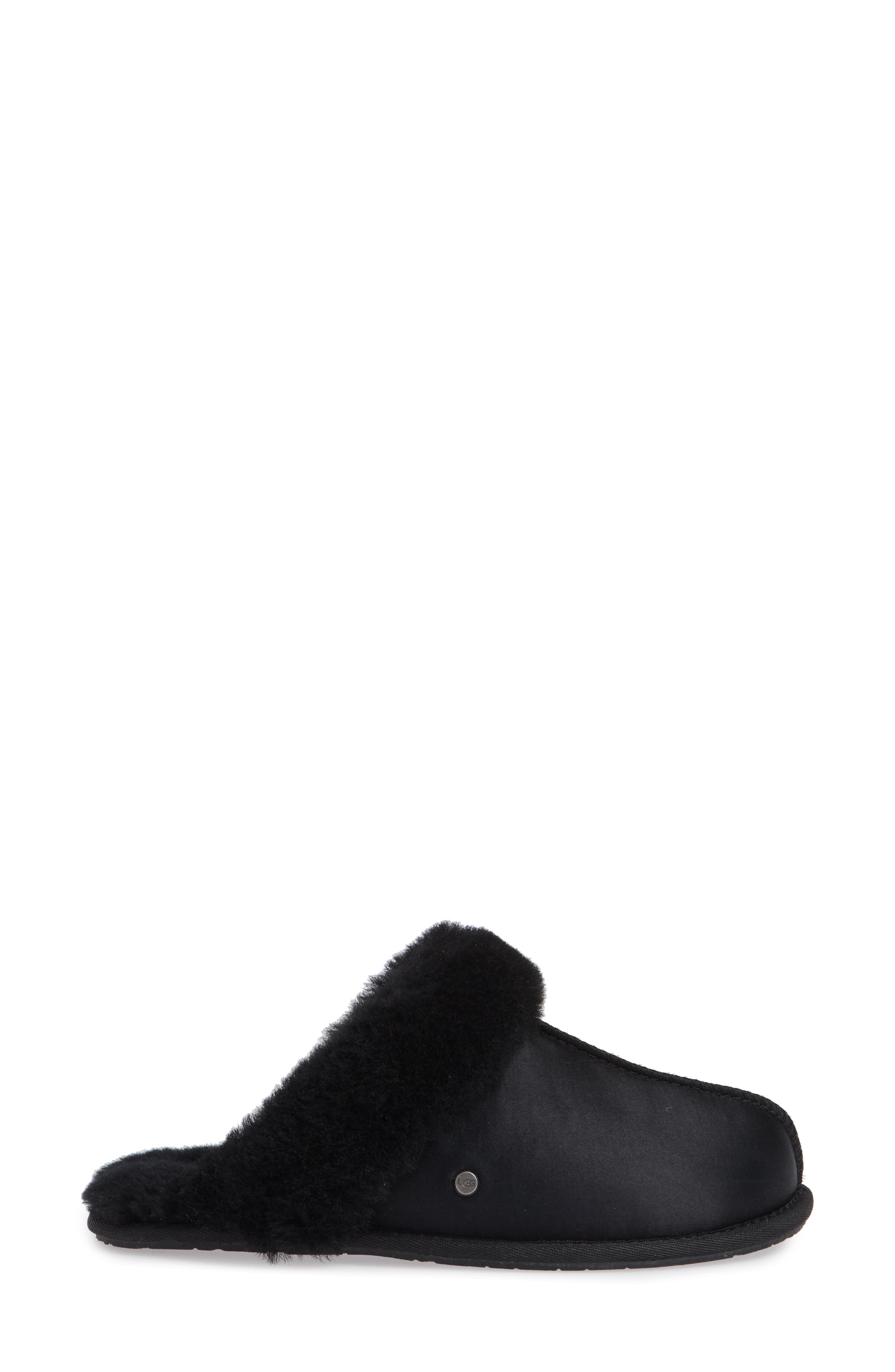 UGG<SUP>®</SUP>, Scuffette II Satin Slipper, Alternate thumbnail 3, color, 001