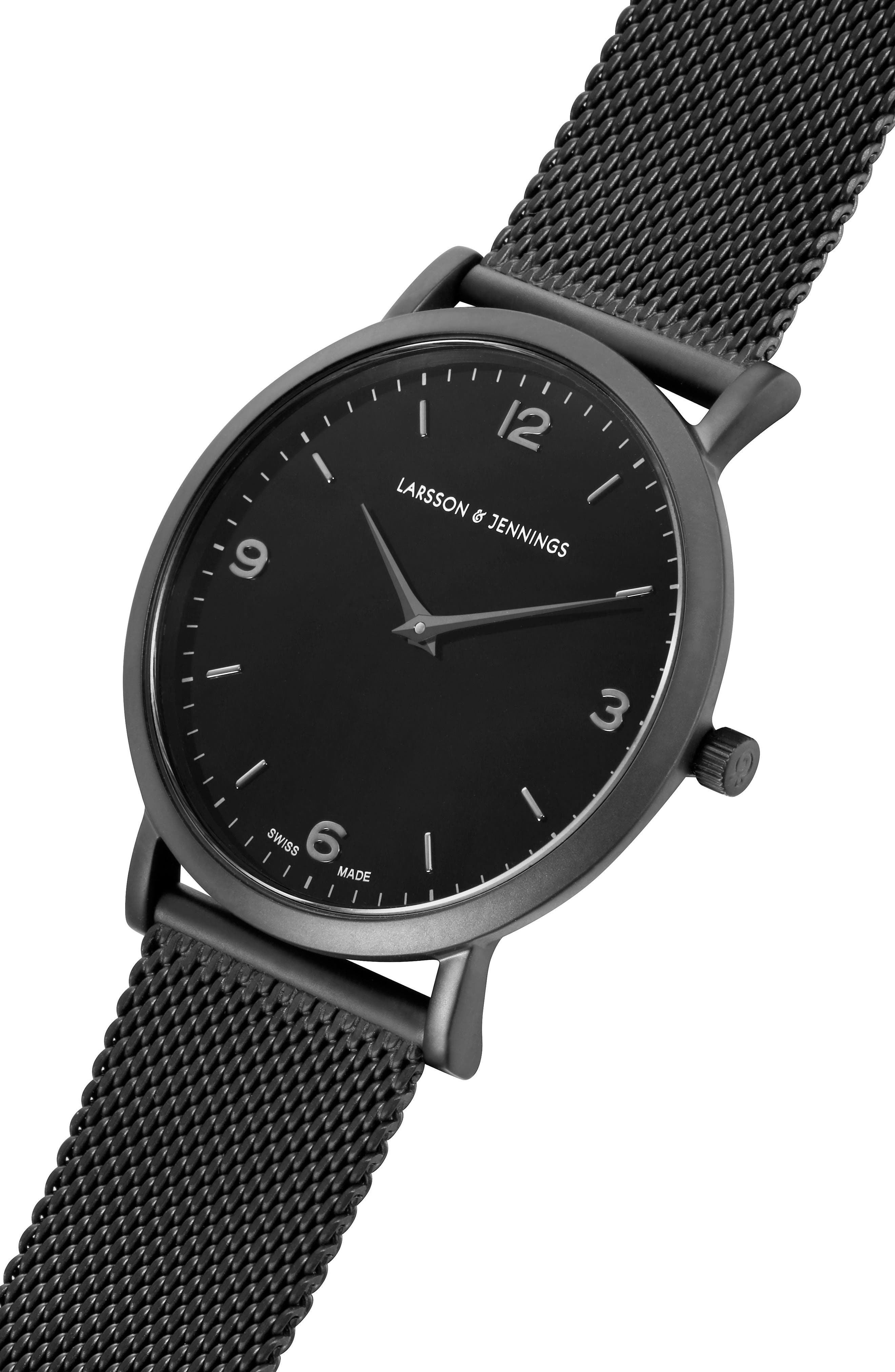 LARSSON & JENNINGS, Lugano Mesh Strap Watch, 38mm, Alternate thumbnail 3, color, 001
