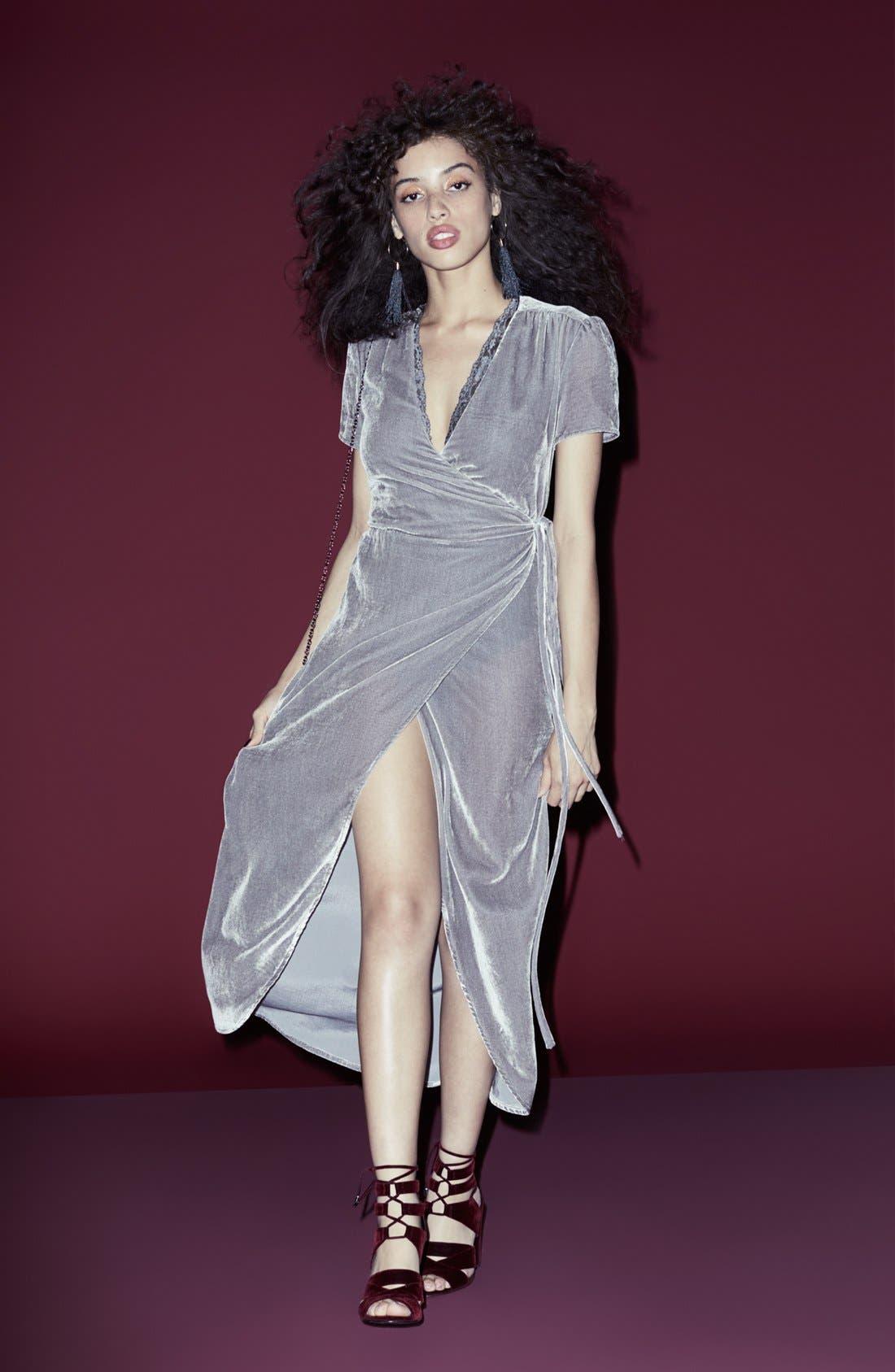 WAYF, Next to You Velvet Wrap Dress, Alternate thumbnail 9, color, 051
