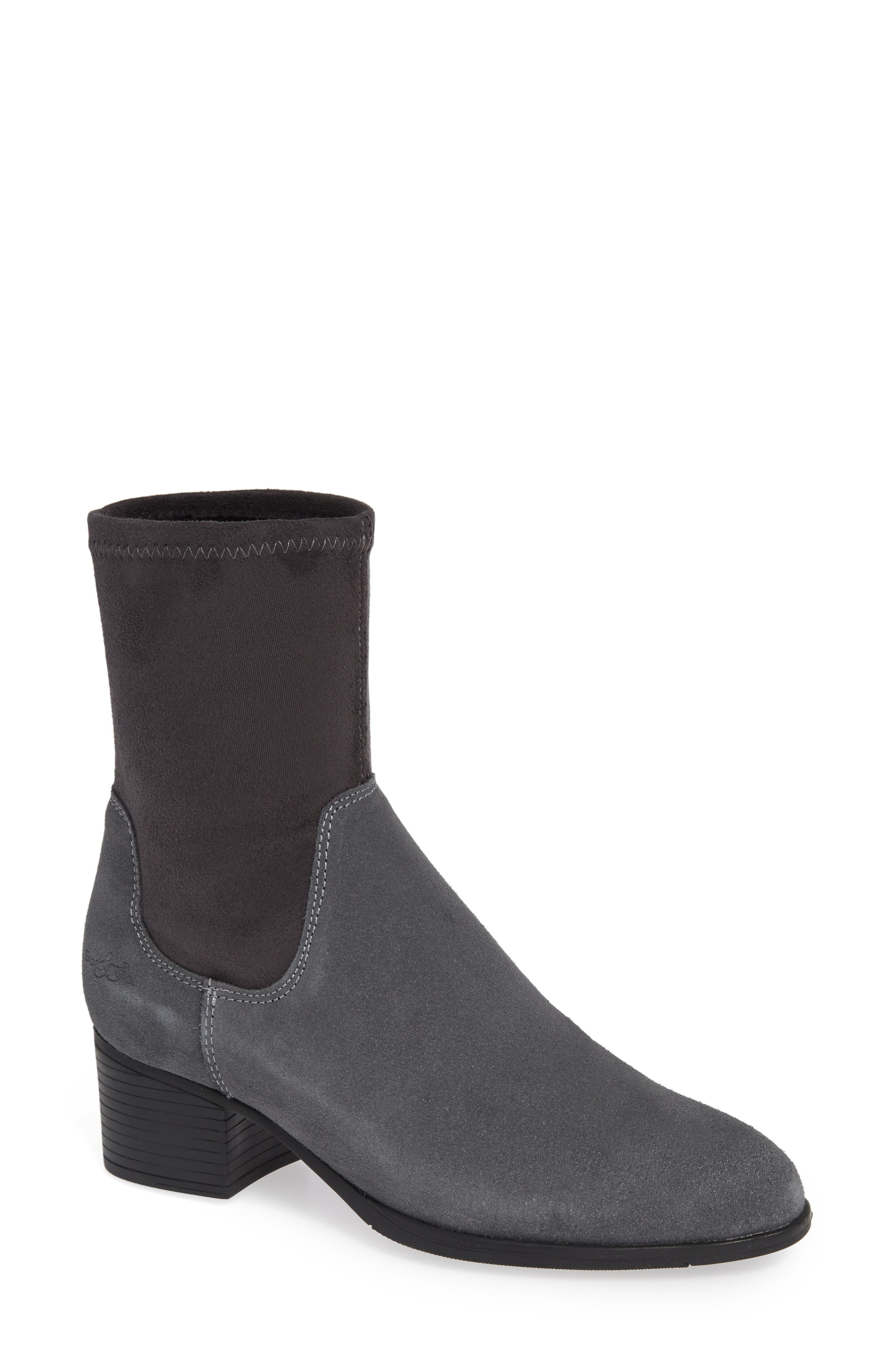 BOS. & CO., Ream Waterproof Sock Bootie, Main thumbnail 1, color, GREY SUEDE