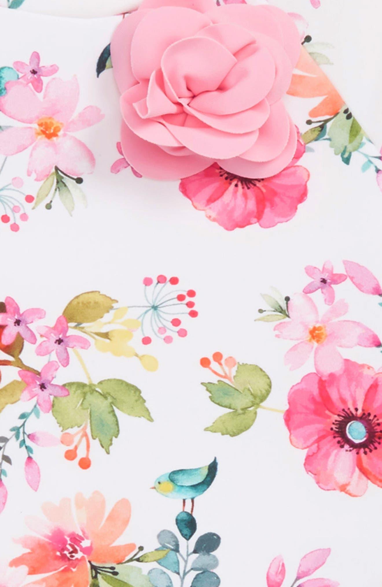 LITTLE ME, Watercolor Floral Two-Piece Rashguard Swimsuit, Alternate thumbnail 2, color, FLORAL