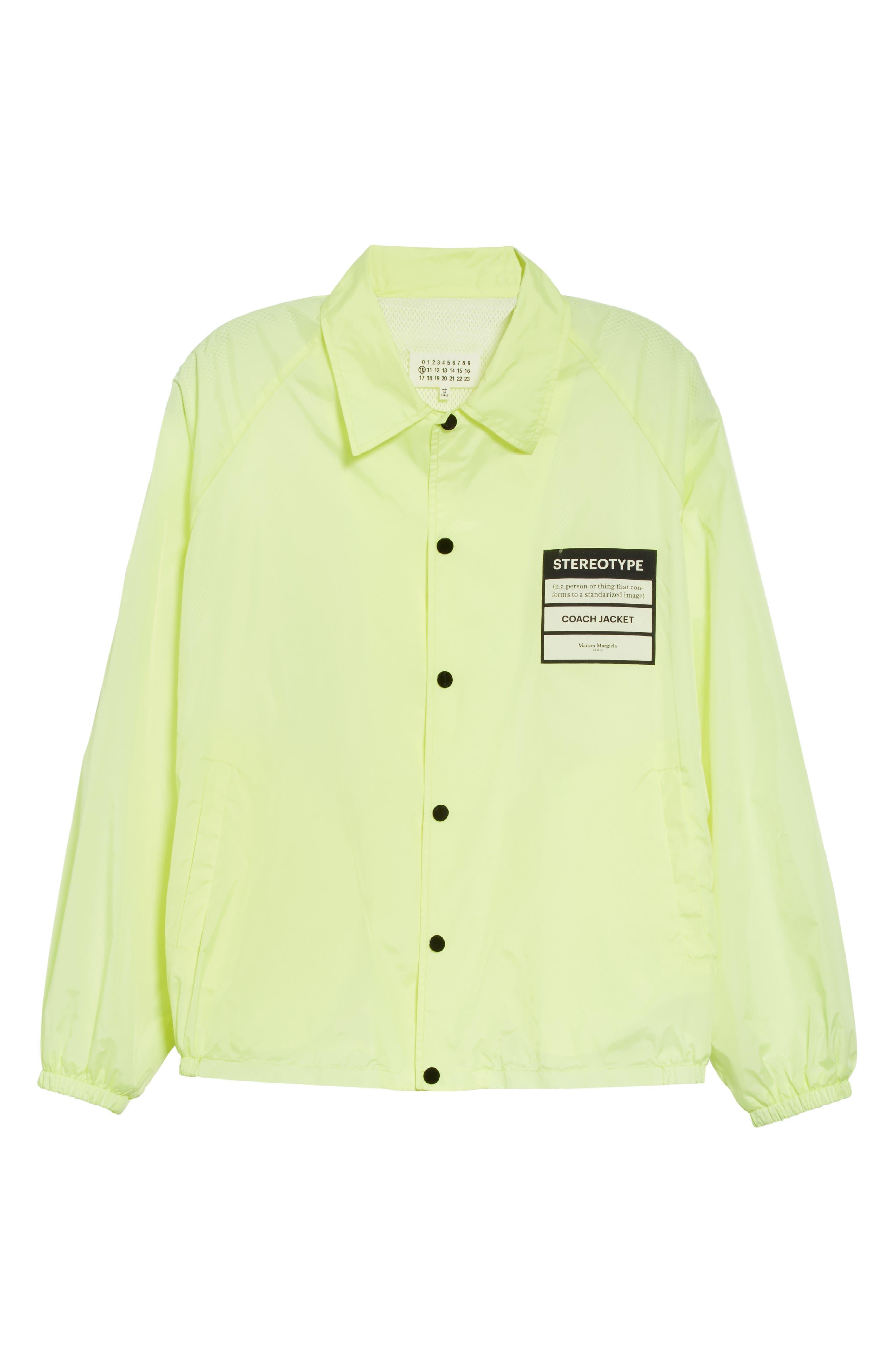 MAISON MARGIELA, Stereotype Coach's Jacket, Alternate thumbnail 5, color, NEON YELLOW