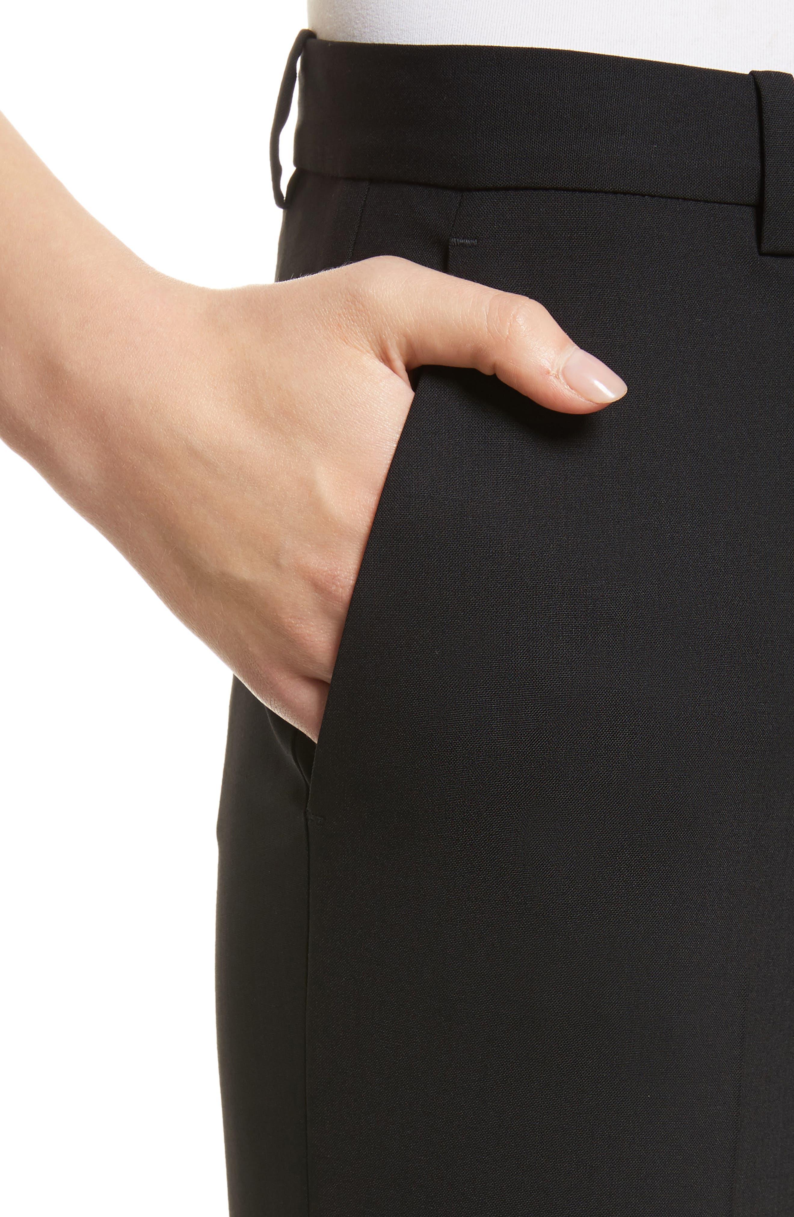 THEORY, Demetria 2 Flare Leg Good Wool Suit Pants, Alternate thumbnail 5, color, BLACK