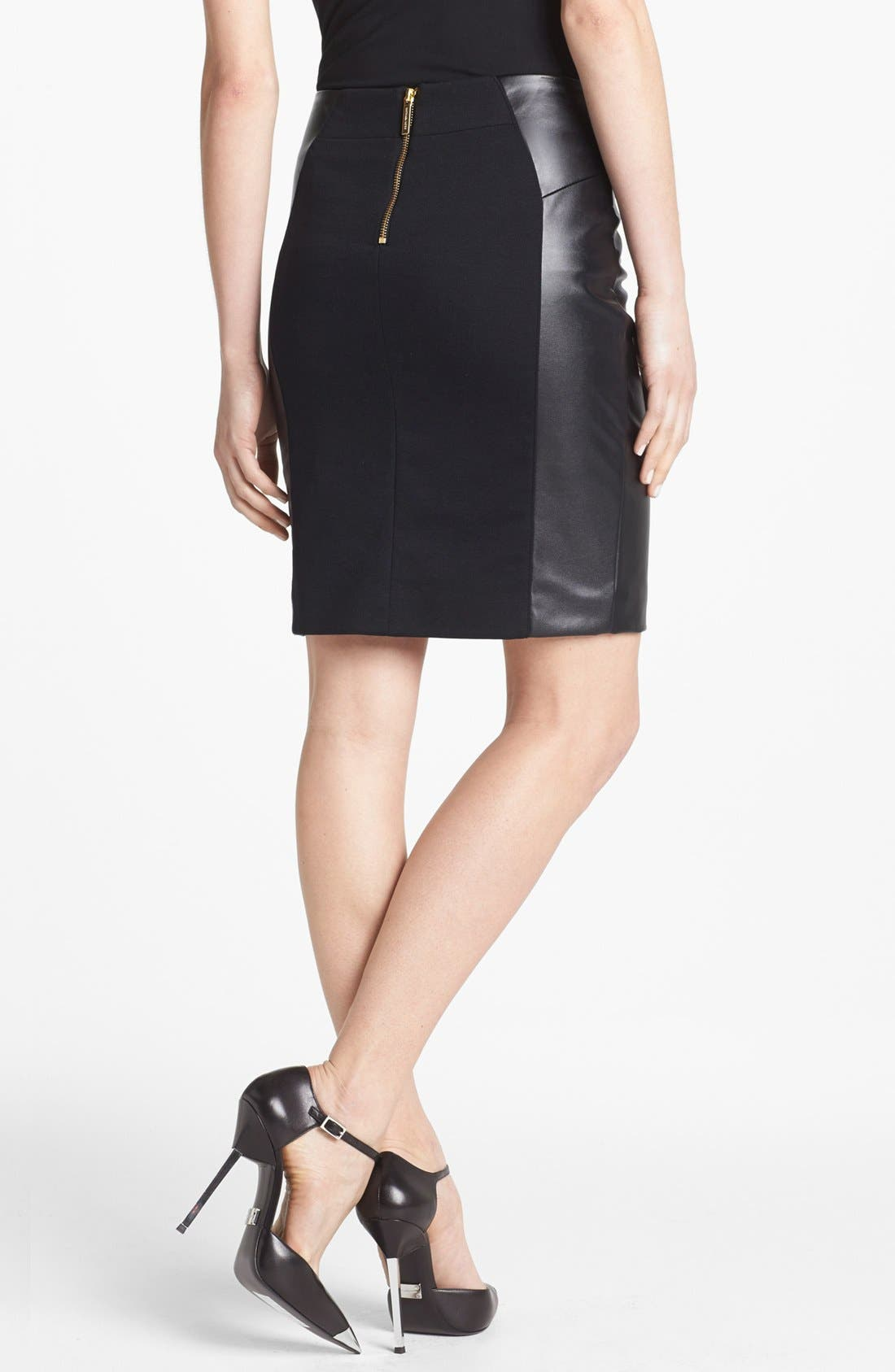 MICHAEL MICHAEL KORS, Ponte & Faux Leather Skirt, Alternate thumbnail 3, color, 002