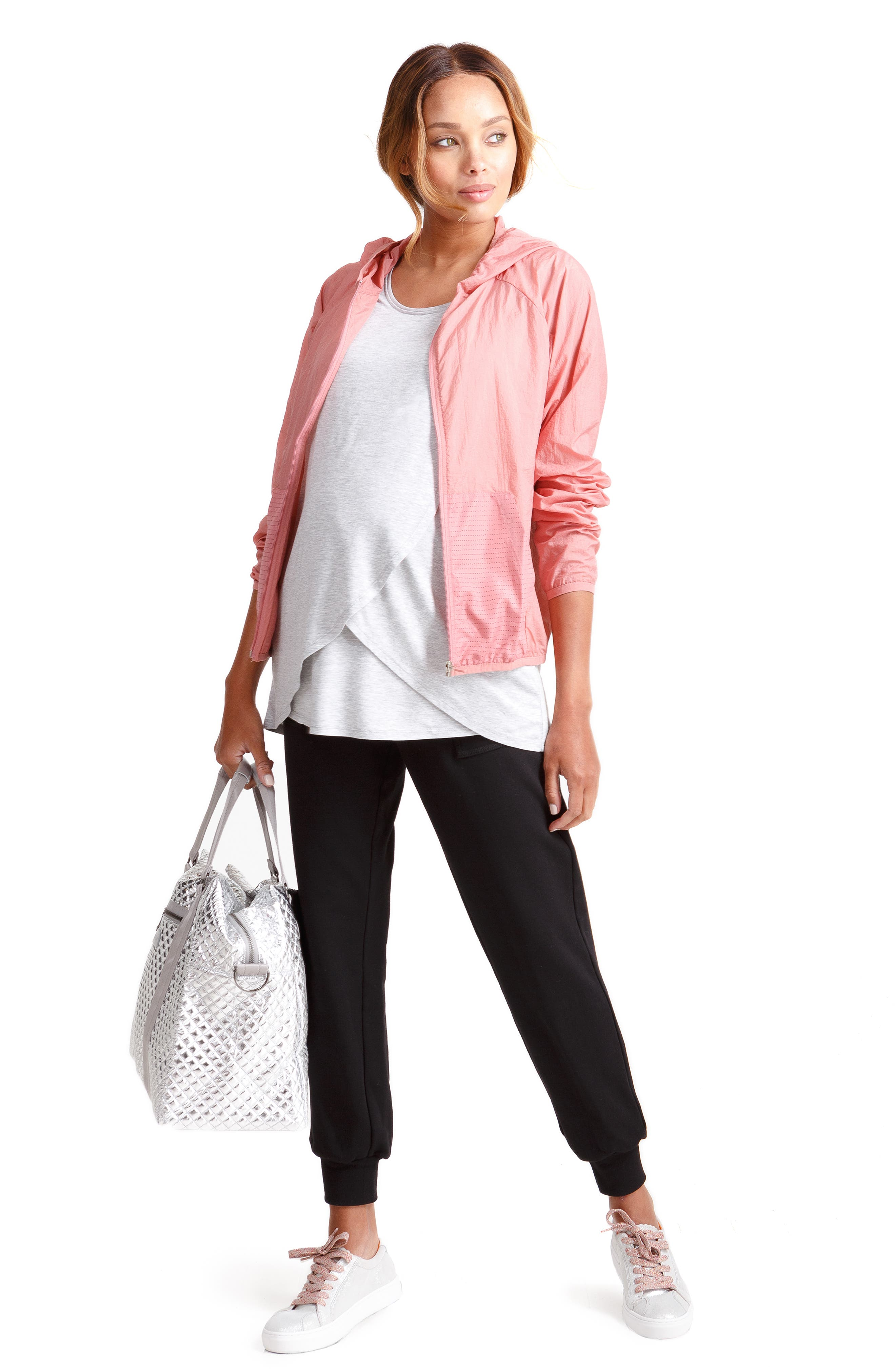 INGRID & ISABEL<SUP>®</SUP>, Knit Active Maternity Jogger Pants, Alternate thumbnail 6, color, JET BLACK