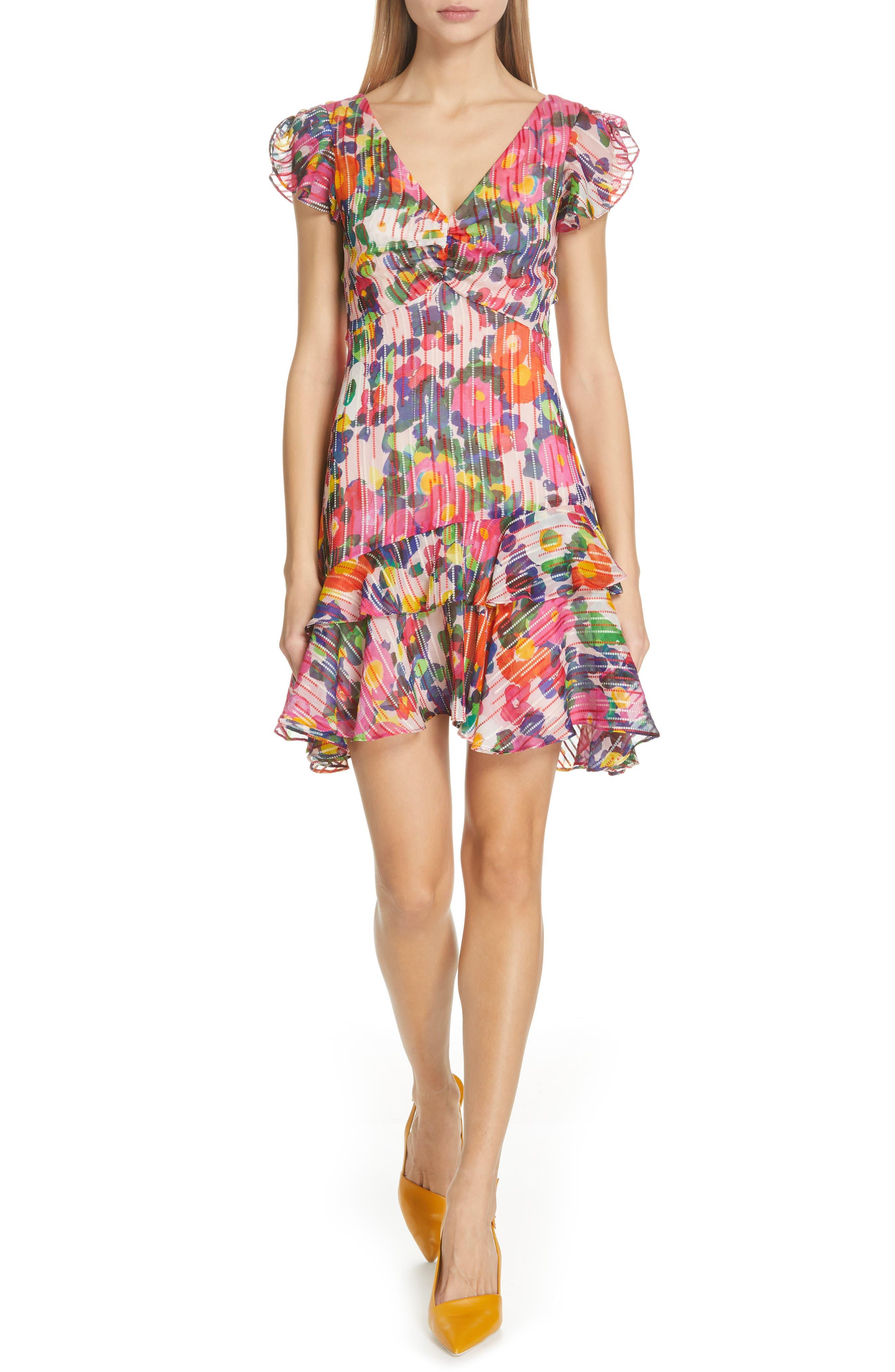 SALONI Catia Floral Print Silk Blend Minidress, Main, color, PINK ROSETTE