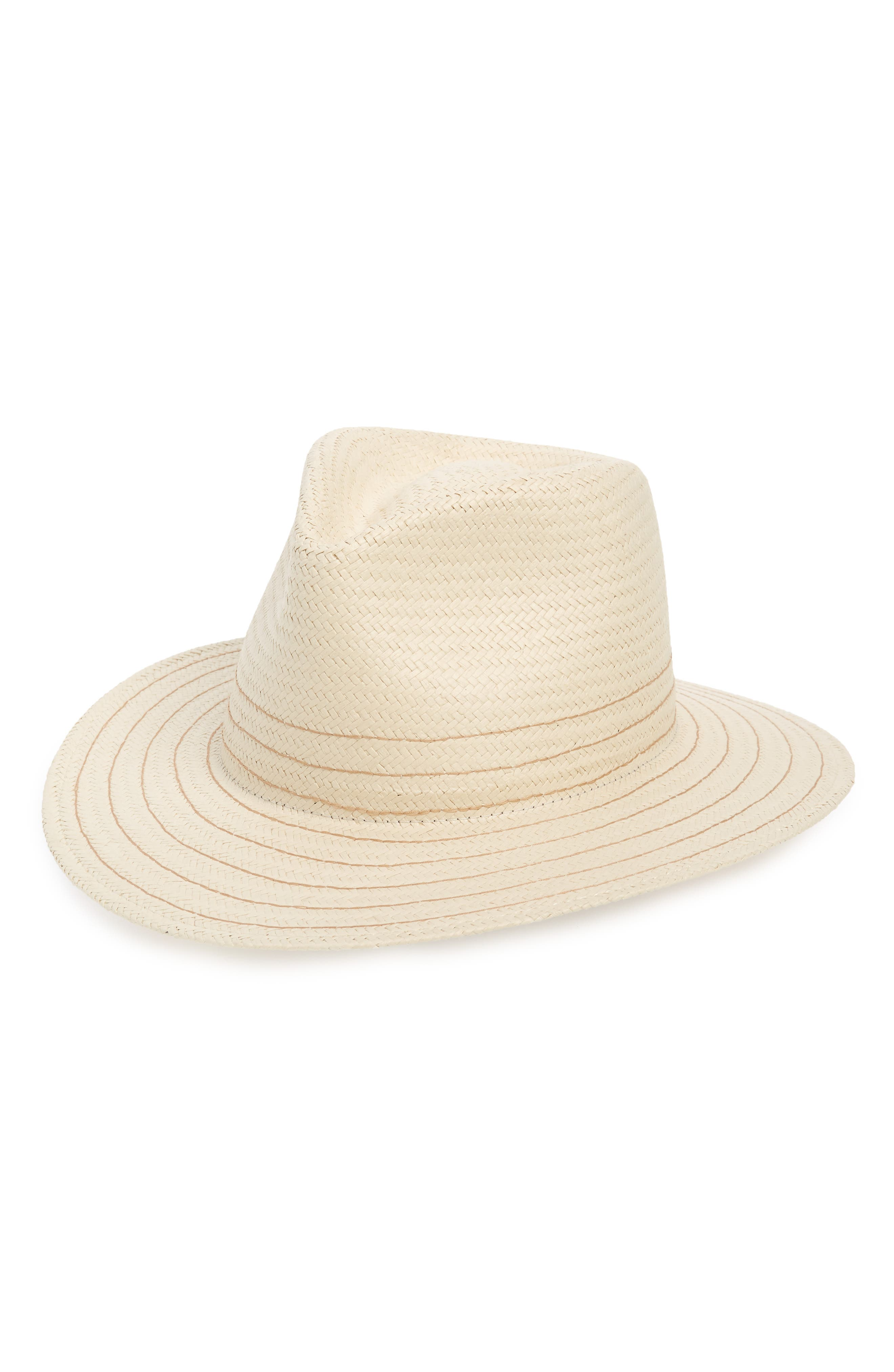 RAG & BONE Packable Straw Fedora, Main, color, NATURAL