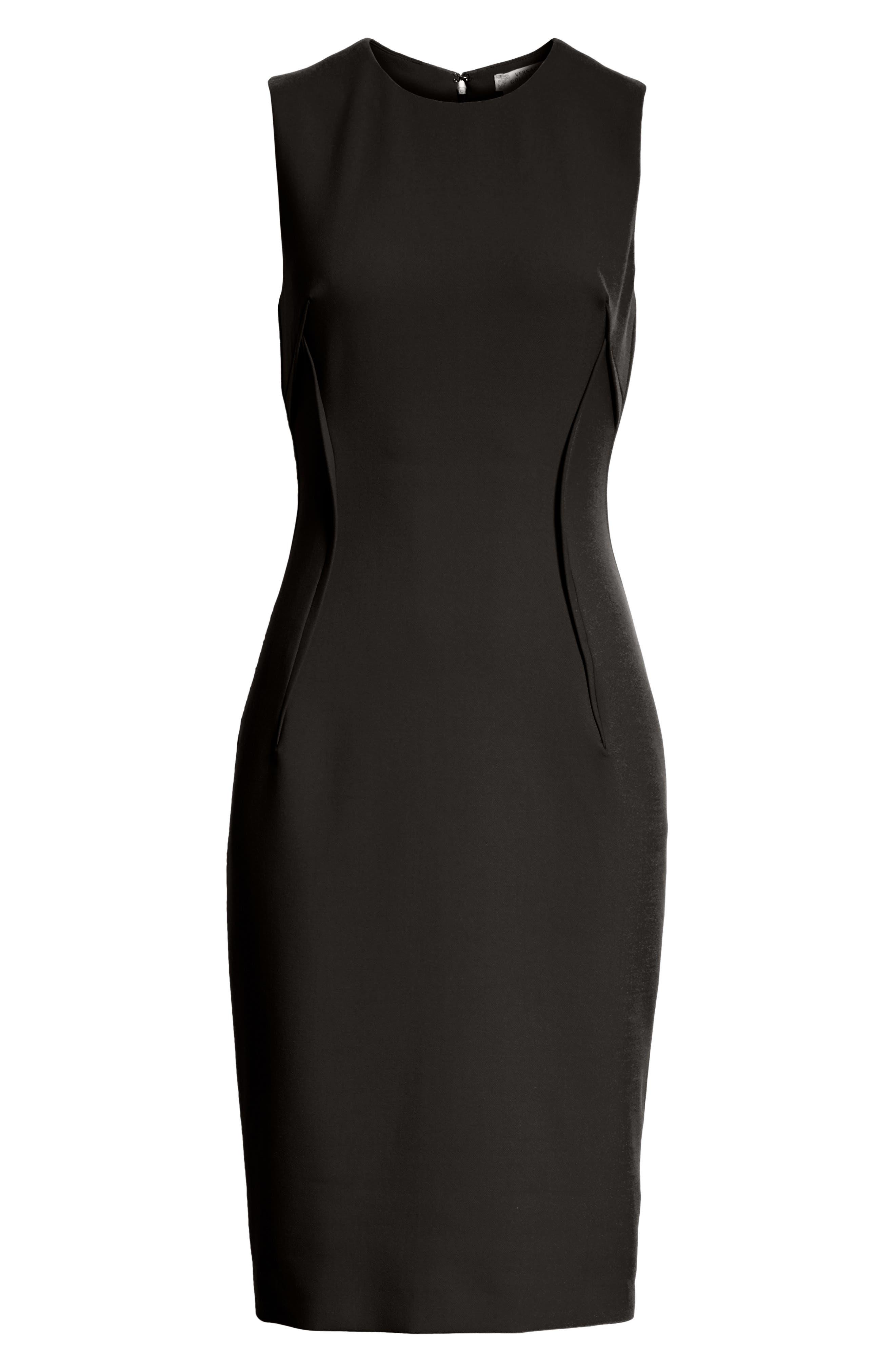 VERSACE COLLECTION, Stretch Cady Sheath Dress, Alternate thumbnail 7, color, BLACK