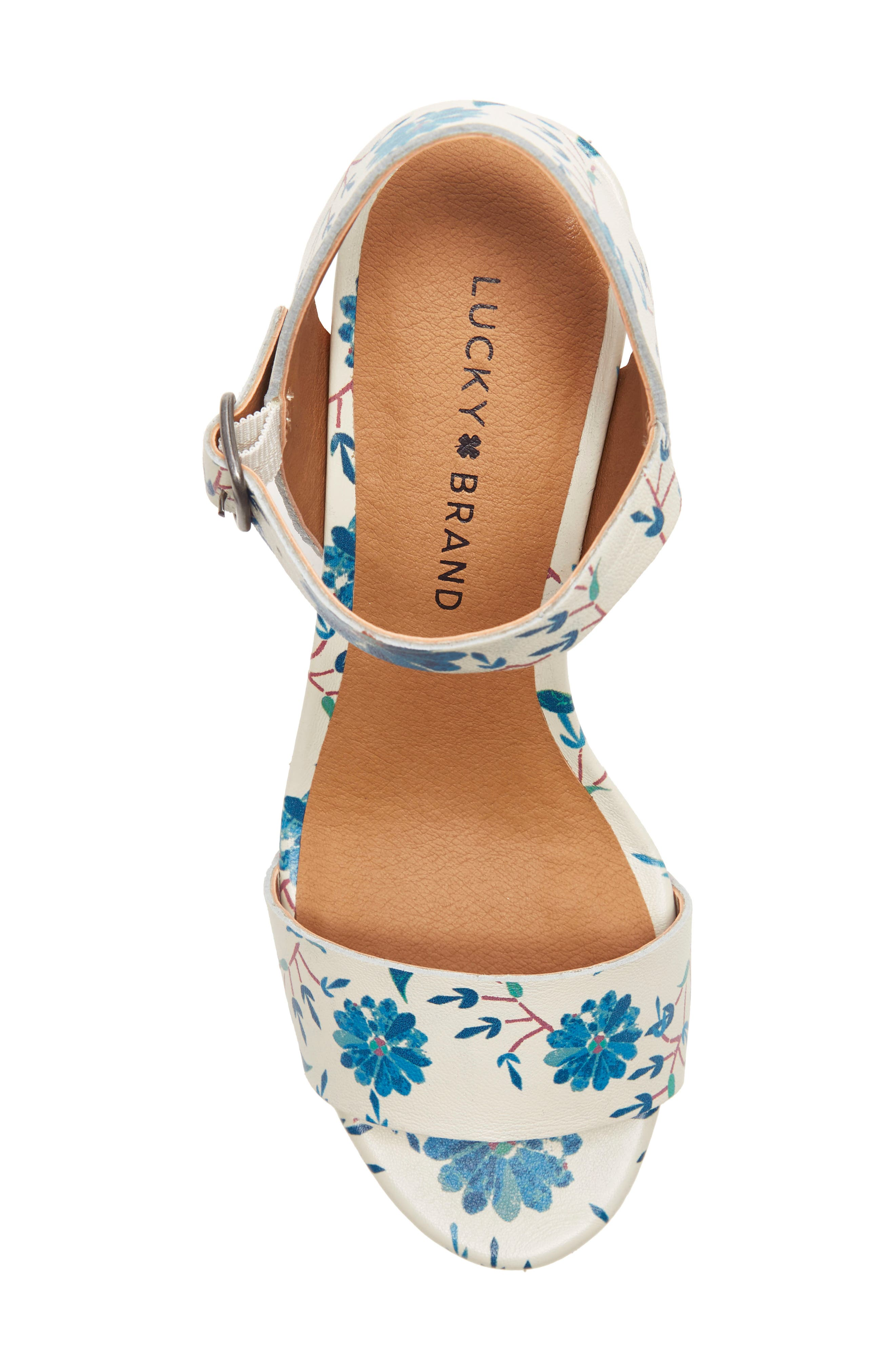 LUCKY BRAND, Trisa Platform Sandal, Alternate thumbnail 5, color, BIRCH LEATHER