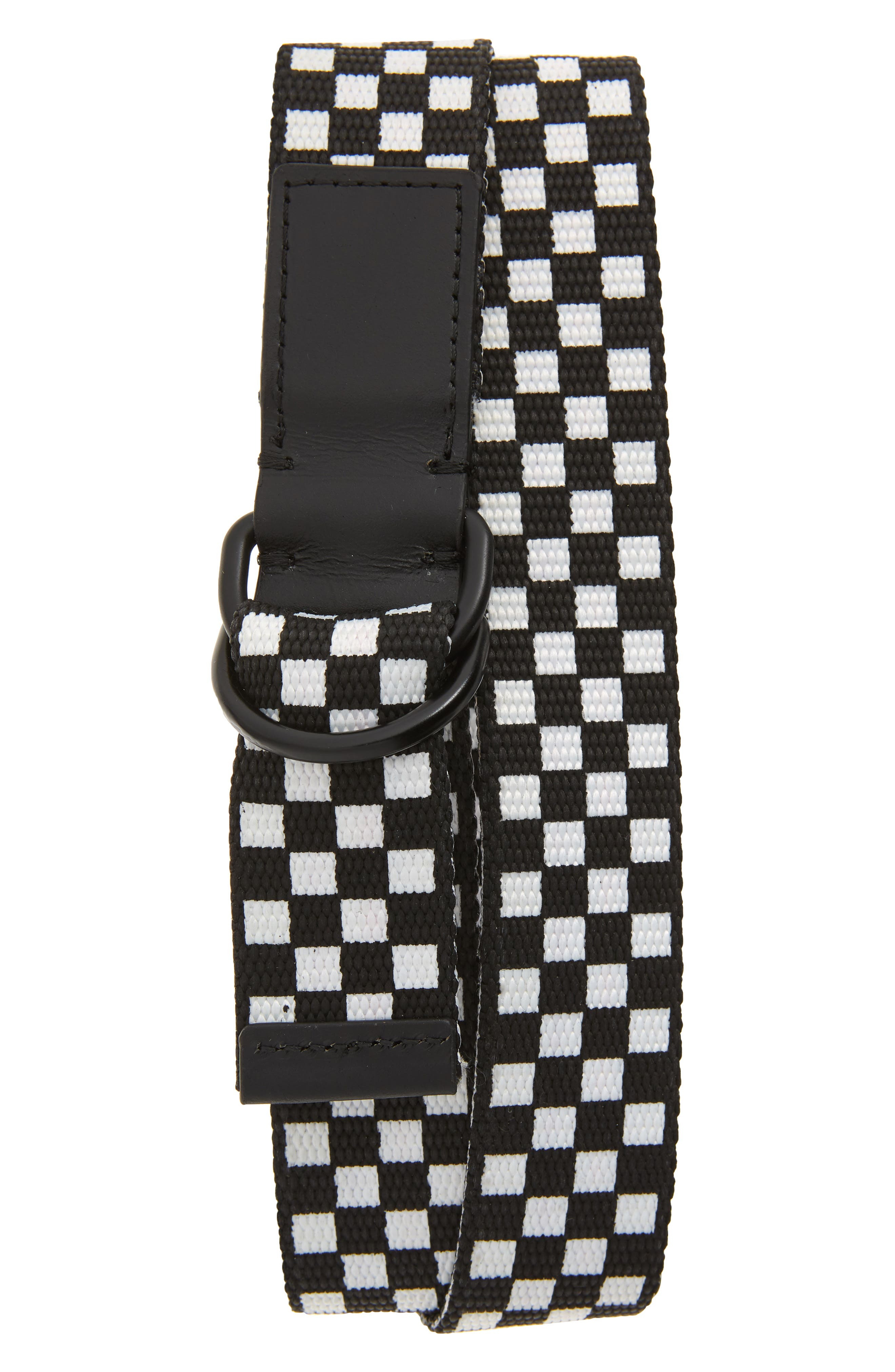 THE RAIL Reed Web Belt, Main, color, BLACK/ WHITE CHECKERBOARD