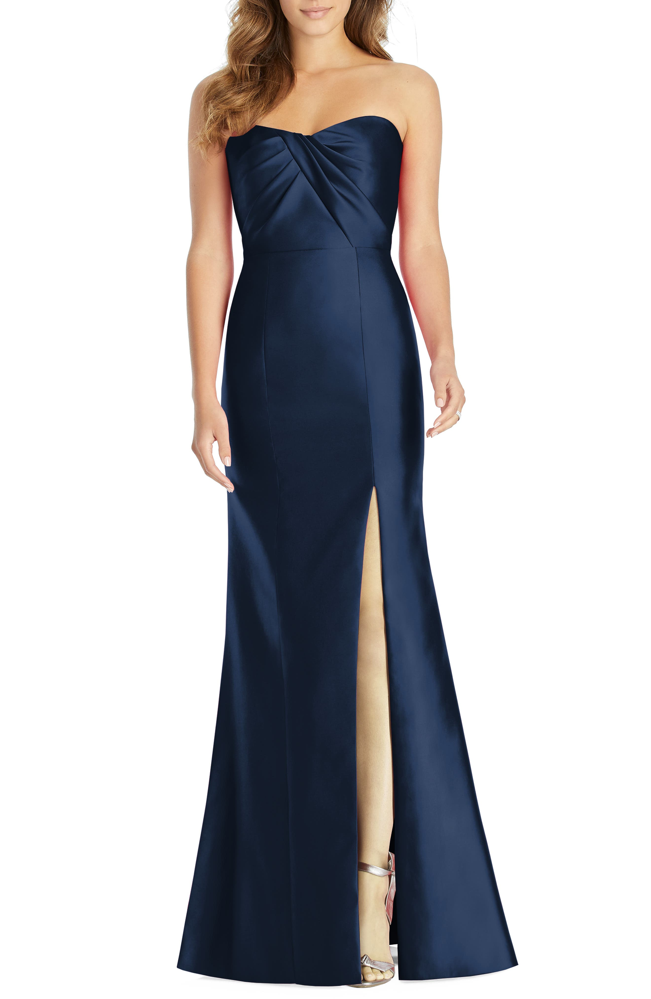 Alfred Sung Sateen Twill Strapless Sweetheart Neckline Gown, Blue