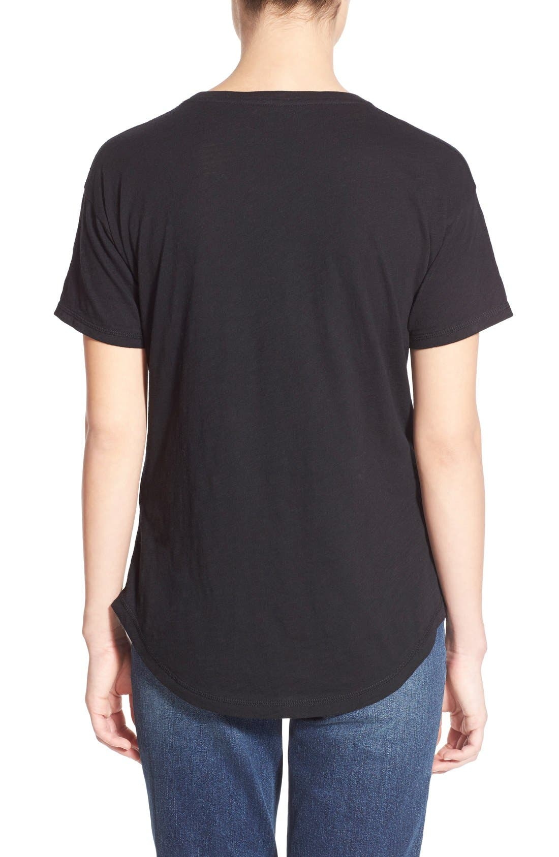 MADEWELL, 'Whisper' Cotton Crewneck Tee, Alternate thumbnail 5, color, TRUE BLACK