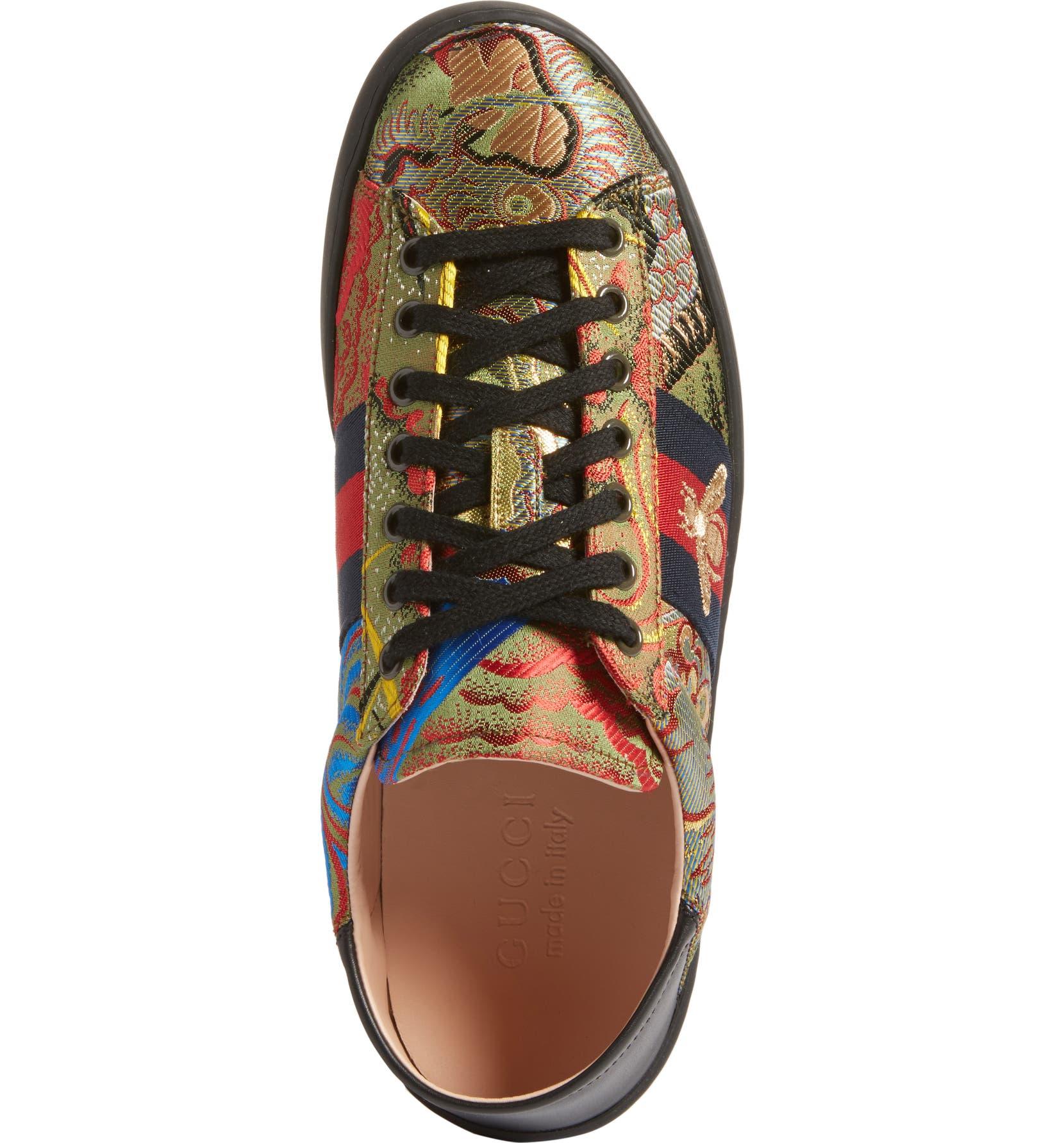 34006156076 Gucci New Ace Baroque Convertible Back Sneaker (Men)