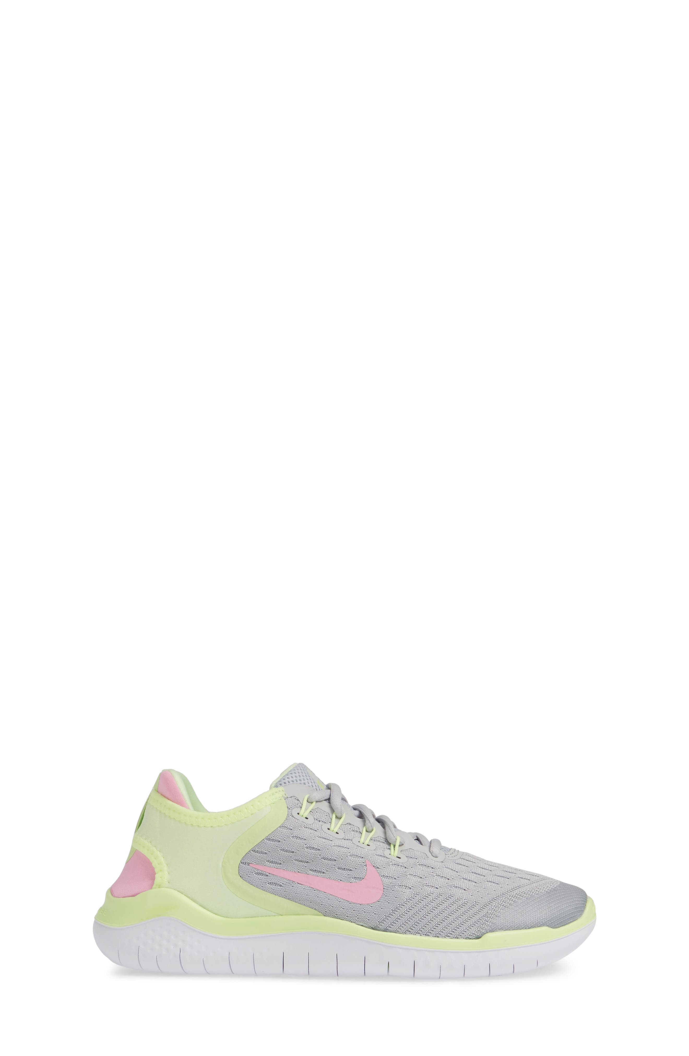 NIKE, Free RN 2018 Running Shoe, Alternate thumbnail 3, color, PURE PLATINUM/ PINK RISE-VOLT