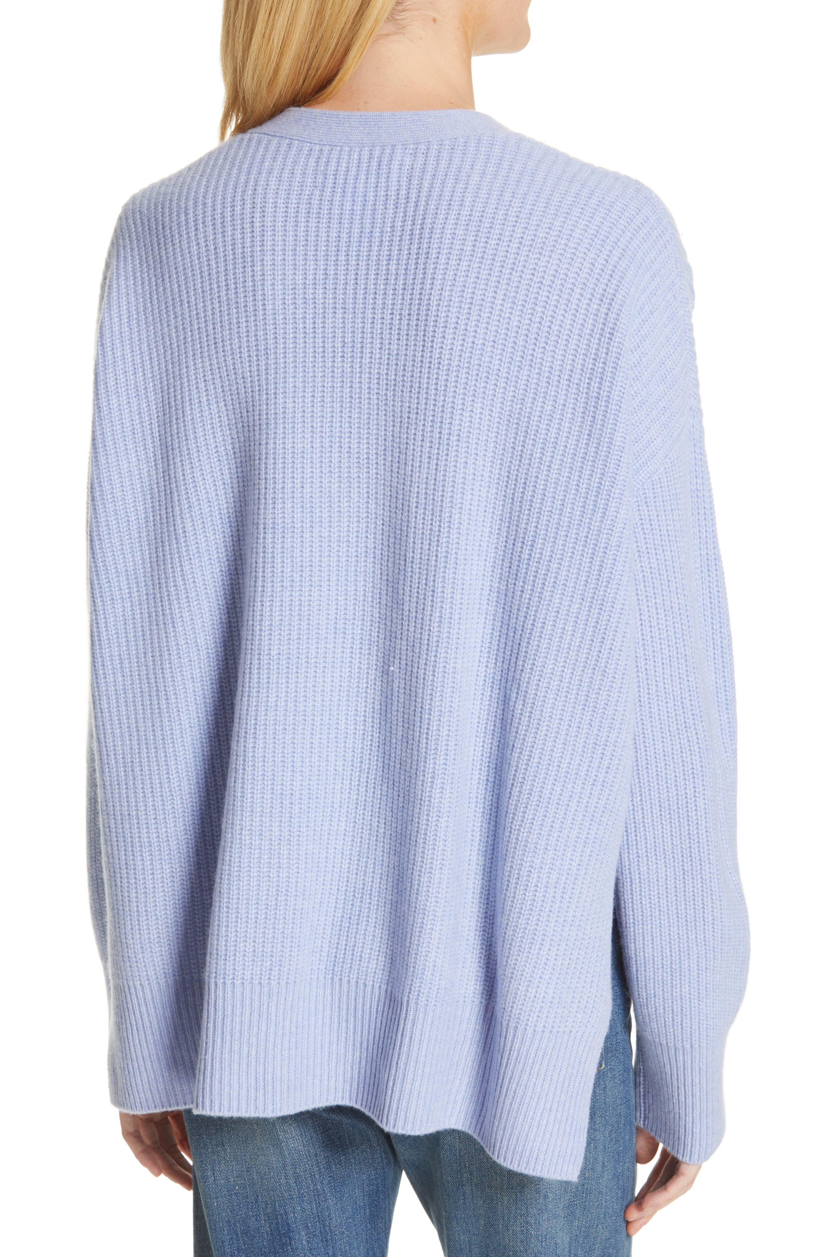 NORDSTROM SIGNATURE, Cashmere Pocket Cardigan, Alternate thumbnail 2, color, BLUE LUSTRE HEATHER