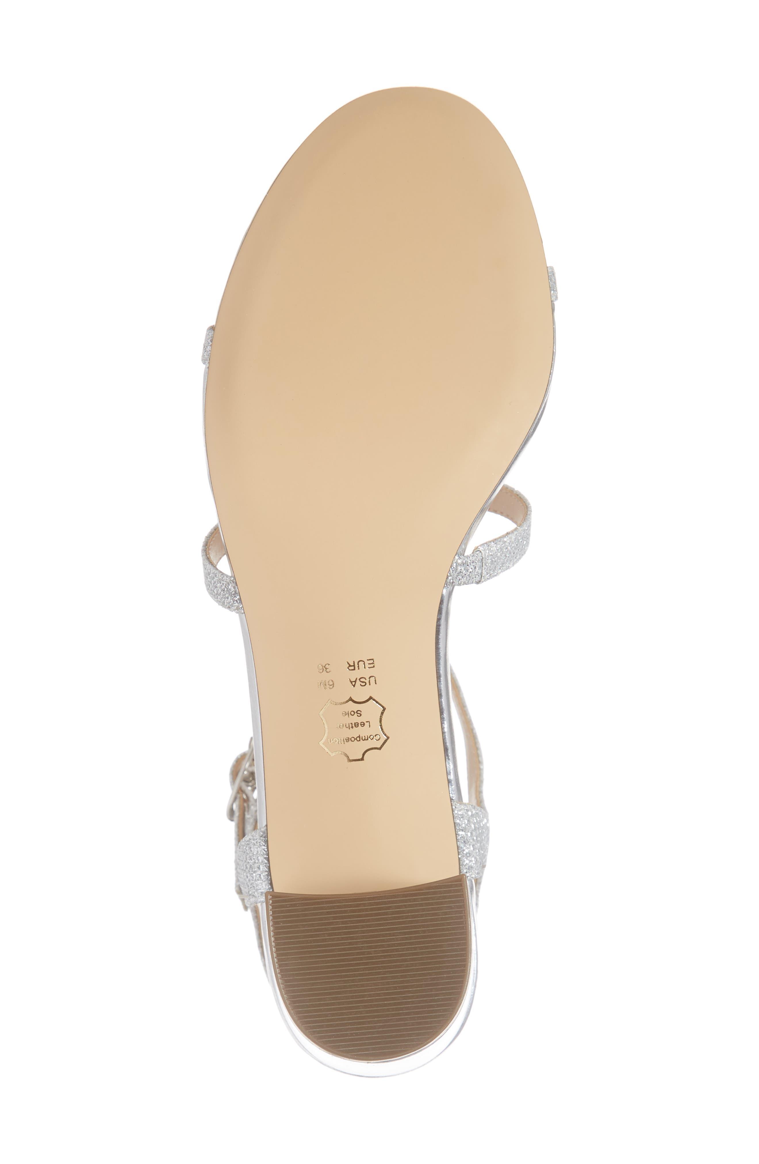 NINA, Gelisa T-Strap Sandal, Alternate thumbnail 6, color, SILVER FABRIC