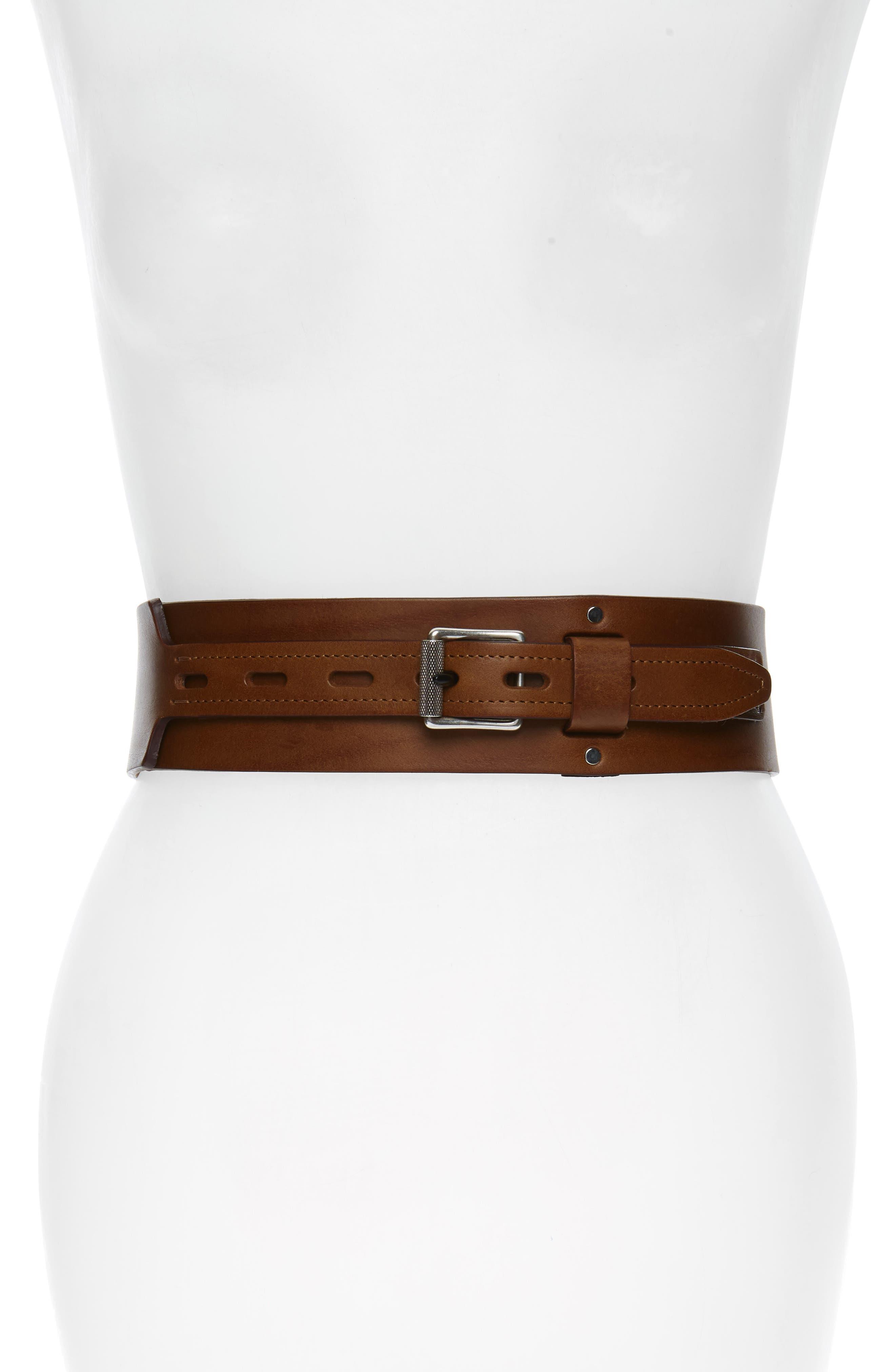 RAG & BONE, Field Leather Belt, Main thumbnail 1, color, BROWN