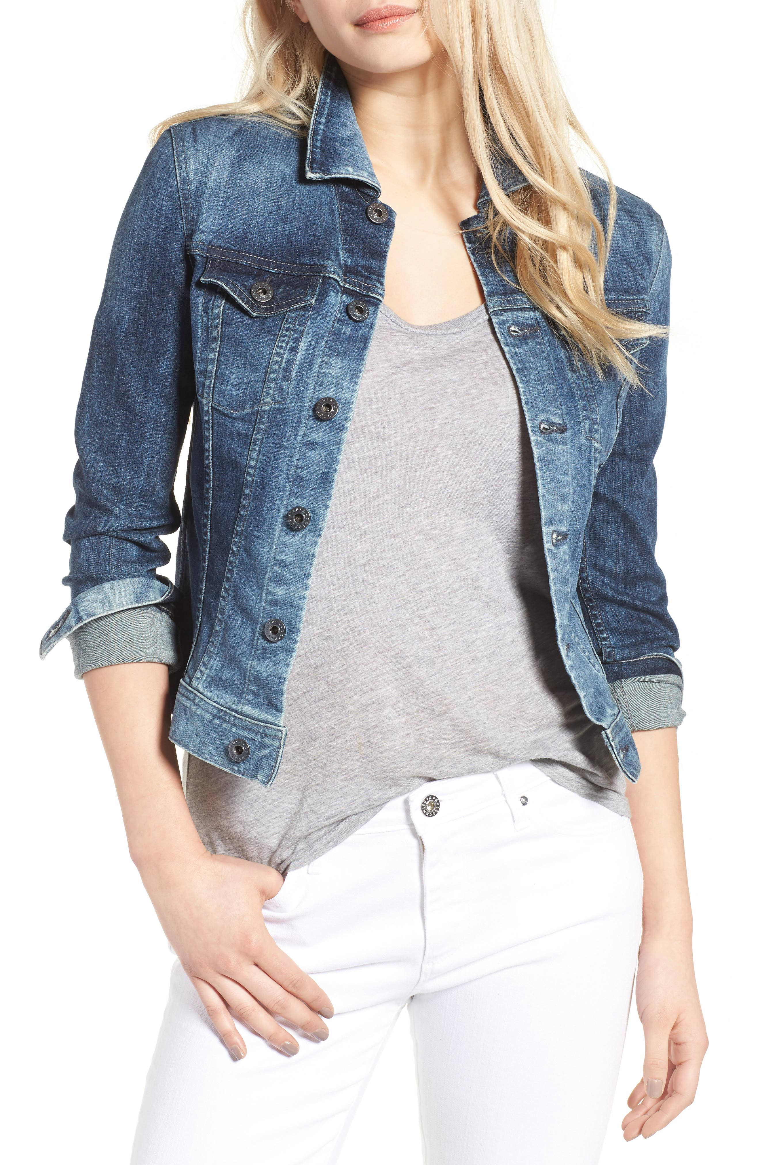 AG, 'Robyn' Denim Jacket, Main thumbnail 1, color, BLUE COVE
